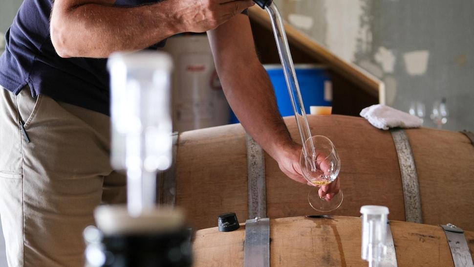 Jean-François soutire à l'aide d'une pipette goûte-vin du vinaigre de vin blanc dans une barrique de chêne ayant servi à l'affinage de rhum.
