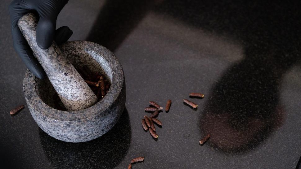 Des grains de poivre des dunes sur une table en marbre noir.