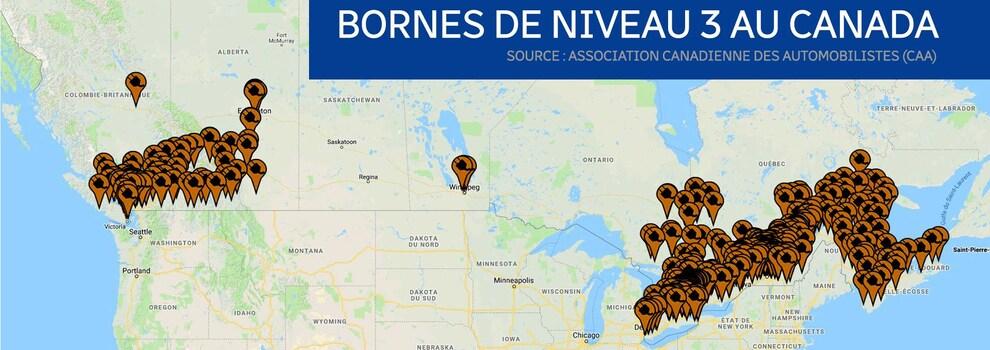 Une carte du Canada indiquant la présence de bornes de recharge qui se retrouvent en très grande majorité en Colombie-Britannique, en Ontario et au Québec.