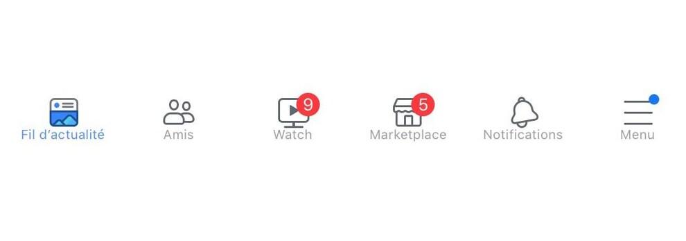 Une capture d'écran montrant la barre d'onglets de Facebook sur laquelle des points rouges apparaissent.
