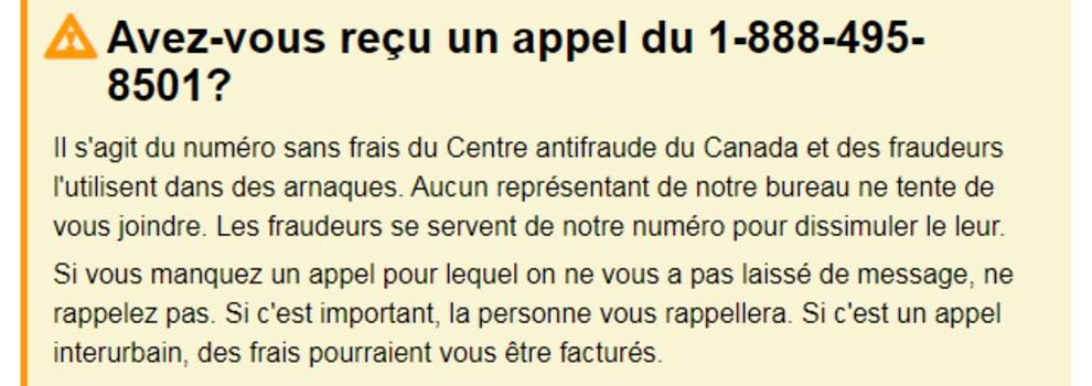 On voit une partie du site web du Centre antifraude du Canada qui prévient les Canadiens que des fraudeurs ont pu utiliser son numéro de téléphone dans le cadre d'une arnaque.