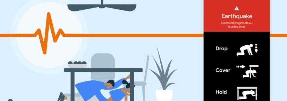 Un écran de téléphone montre des instructions qui recommandent de se placer au sol, de se cacher sous une table et de s'y accrocher.