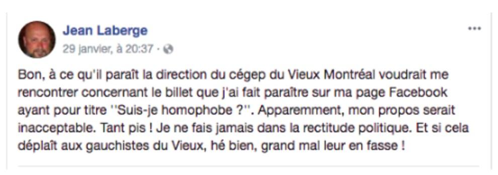 Publication de Jean Laberge sur sa page publique.