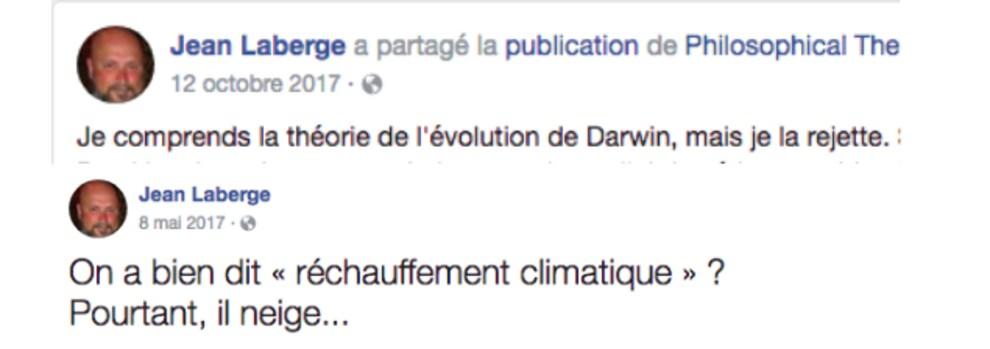 D'autres publications de Jean Laberge sur sa page publique Facebook