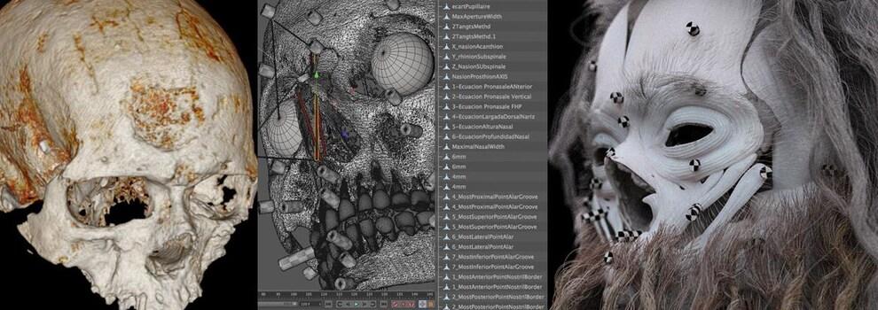 On voit différentes étapes de la reconstitution informatique à partir du crâne du «vieillard» de Cro-Magnon.