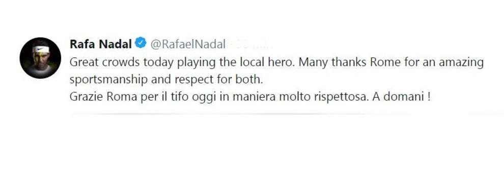 Le message de Rafael Nadal sur Twitter