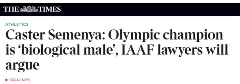 Le titre de l'article du journal The Times sur Caster Semenya