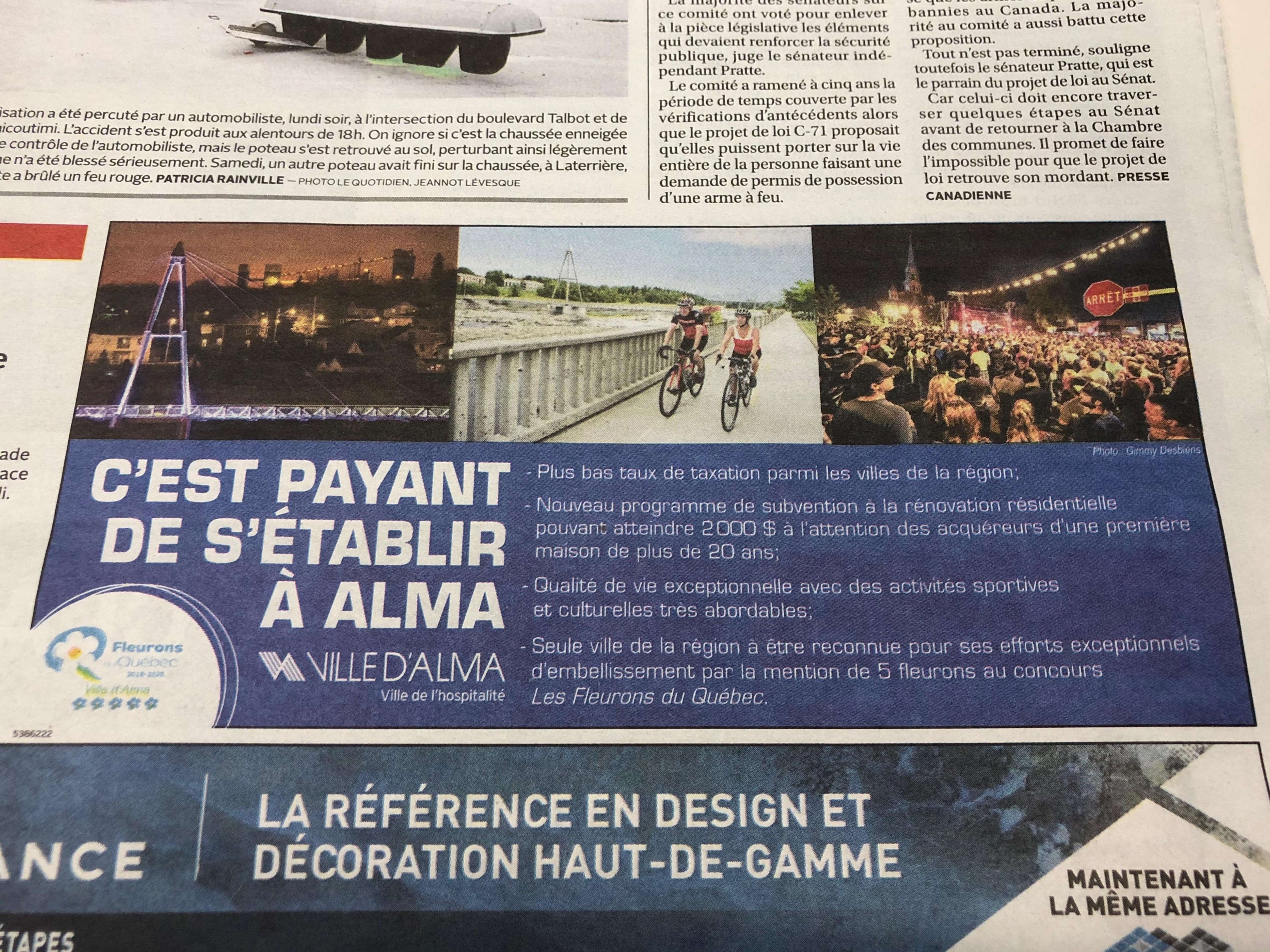 Image d'une page de journal affichant l'encart publicitaire «C'est payant s'établir à Alma».