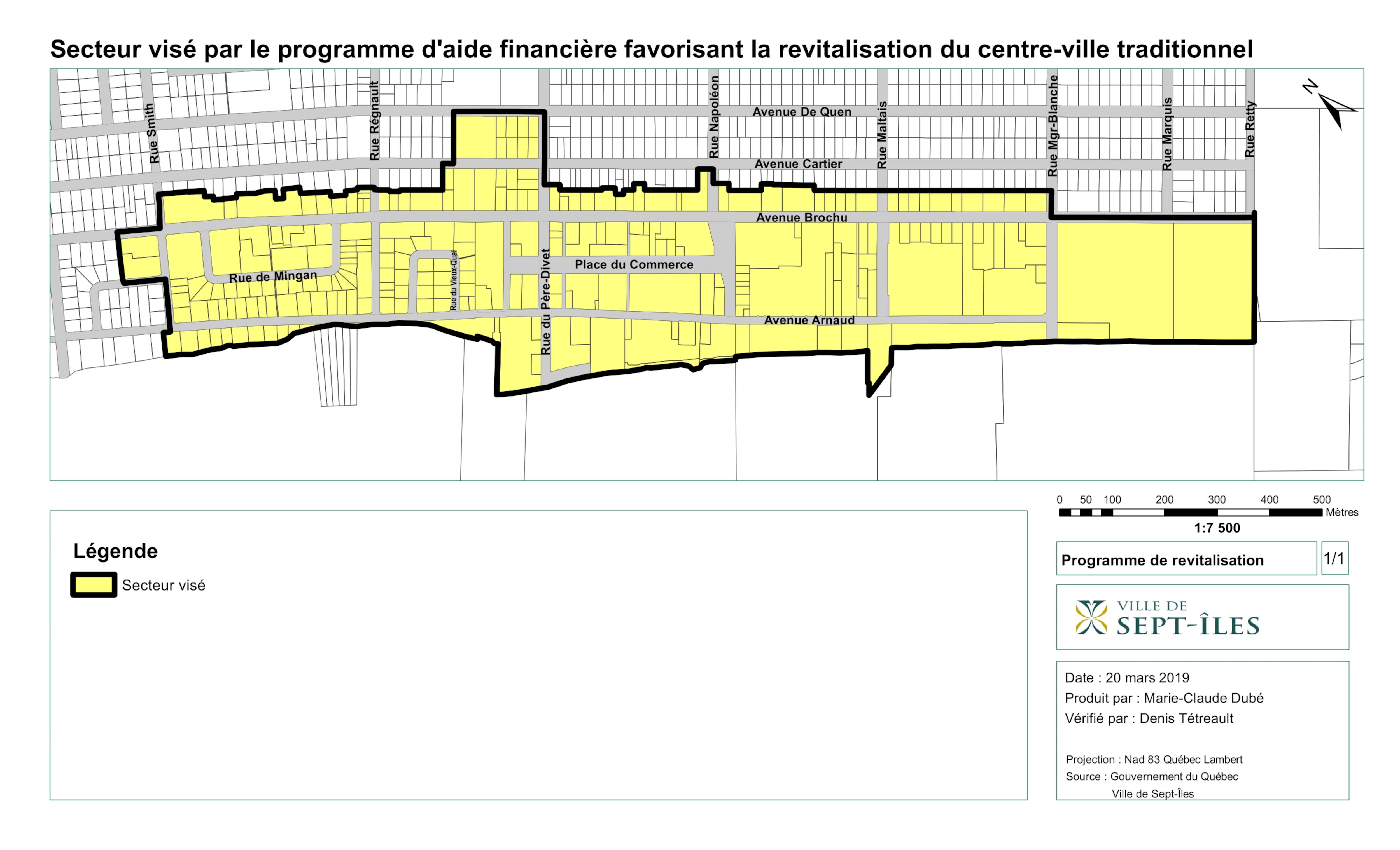 Le secteur visé par le programme d'aide financière de la Ville de Sept-Îles.