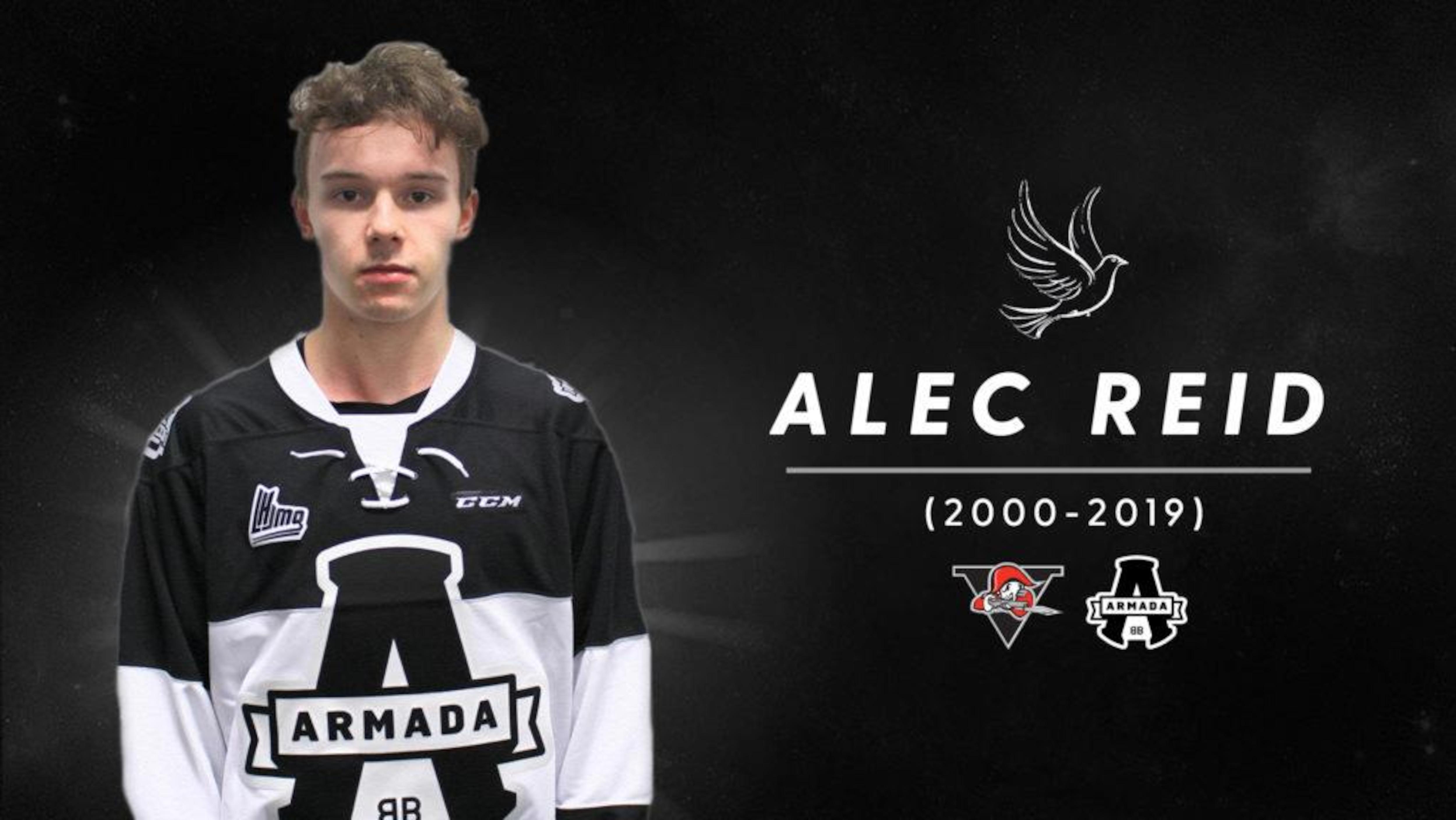 Alec Reid, joueur de l'Armada de Blainville-Boisbriand, est décédé à 18 ans de complications reliées à l'épilepsie.