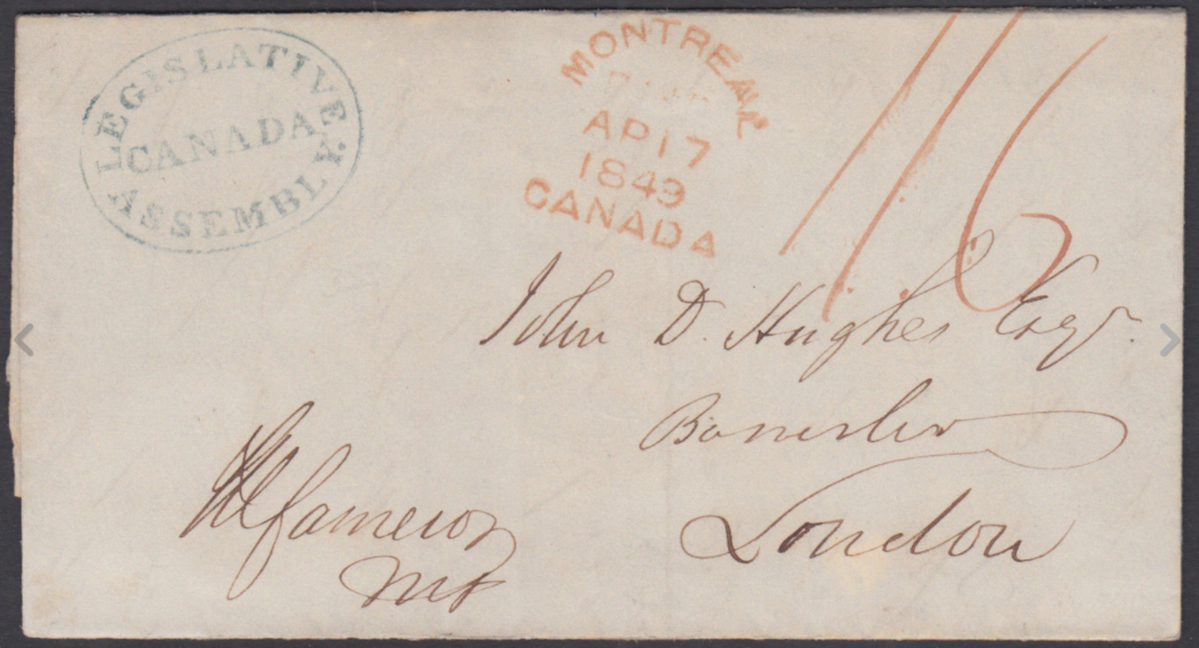 Une partie d'un manuscrit sur lequel sont étampées l'inscription Legislative Assembly Canada et la date 1849