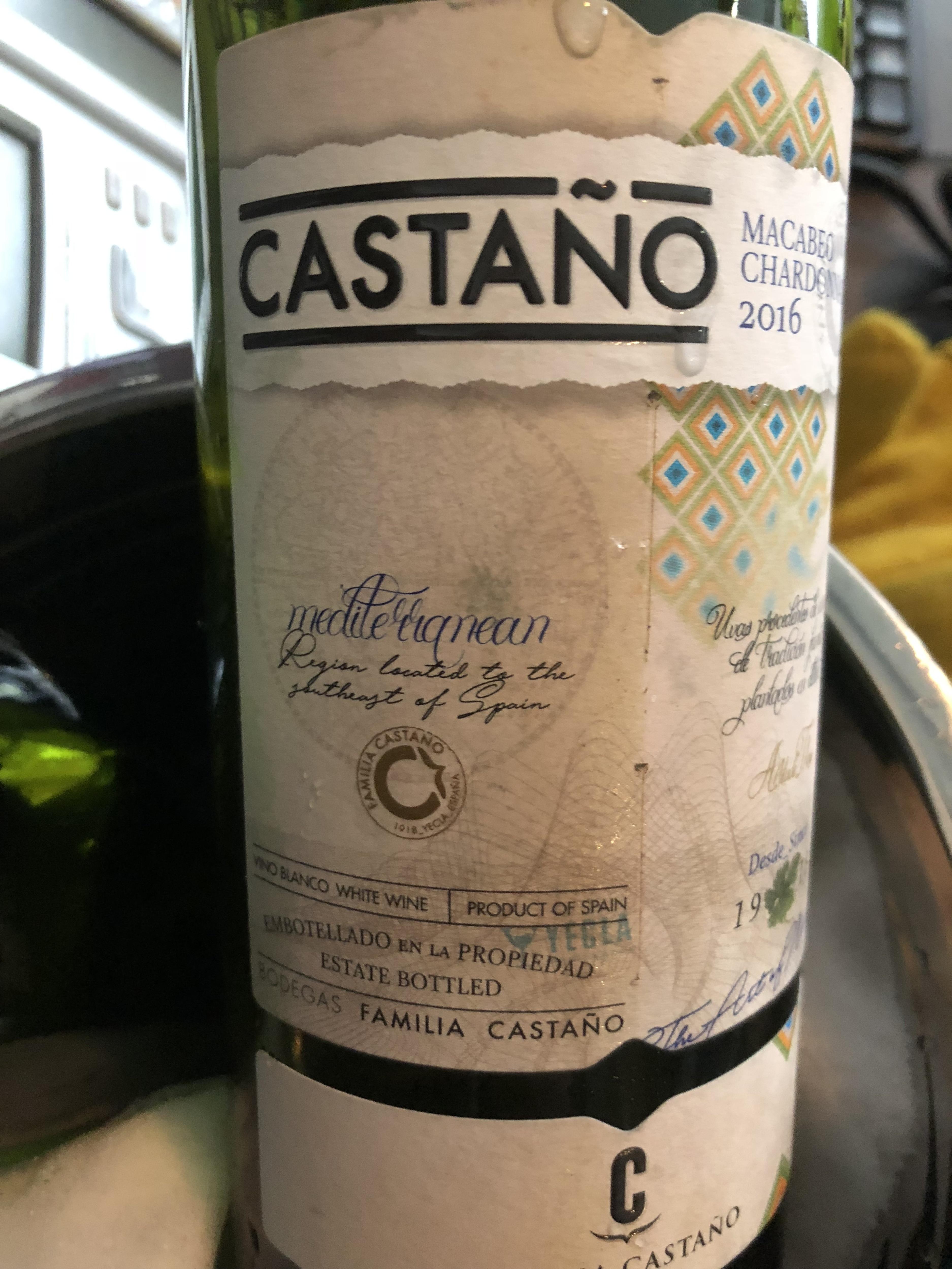 Castano Chardonnay / Maccabeo 2016, Code SAQ :  10855758, 14,40$
