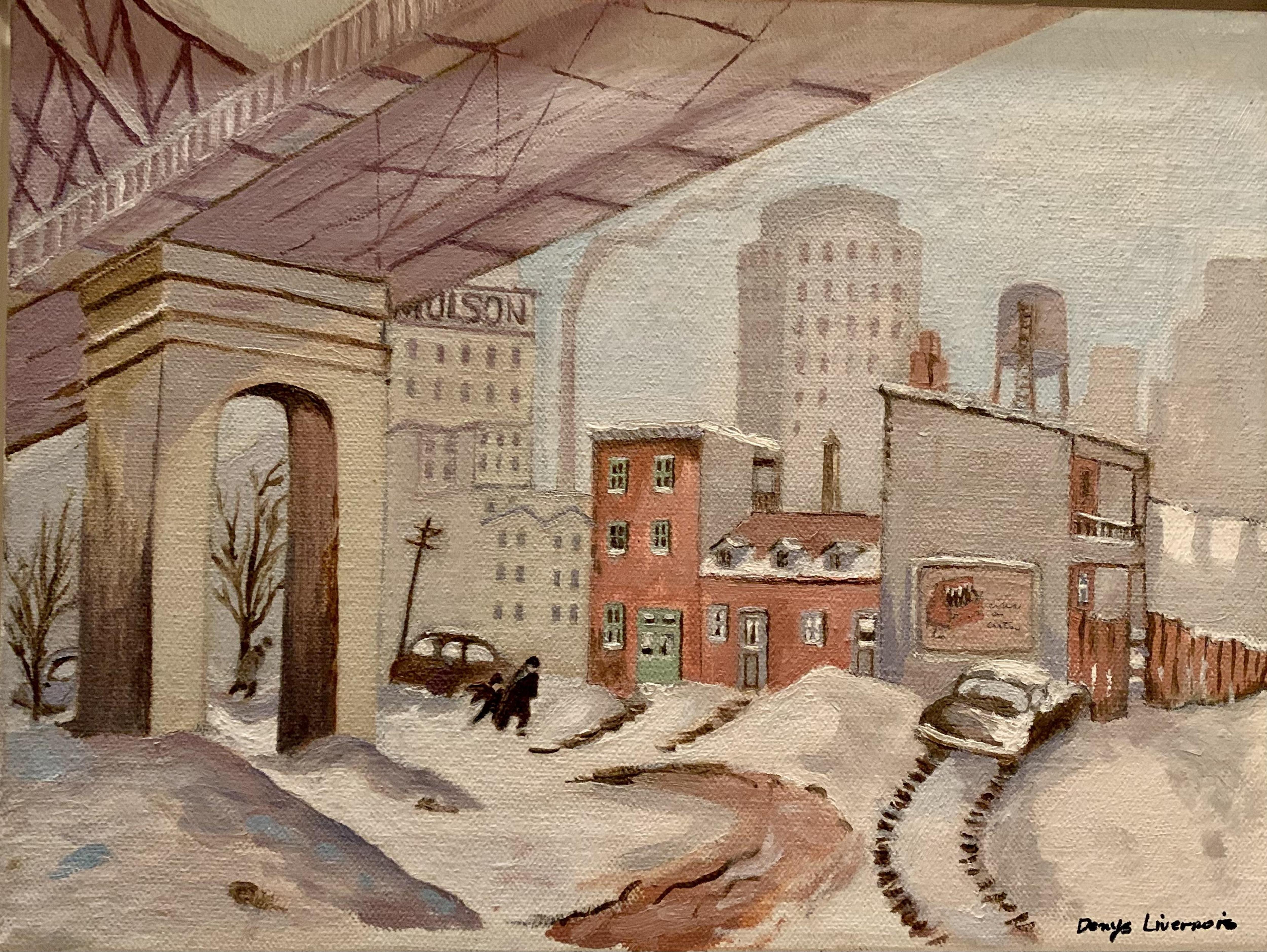 Un toile montrant le dessous du pont Jacques-Cartier, des bâtiments et une partie de la brasserie Molson.