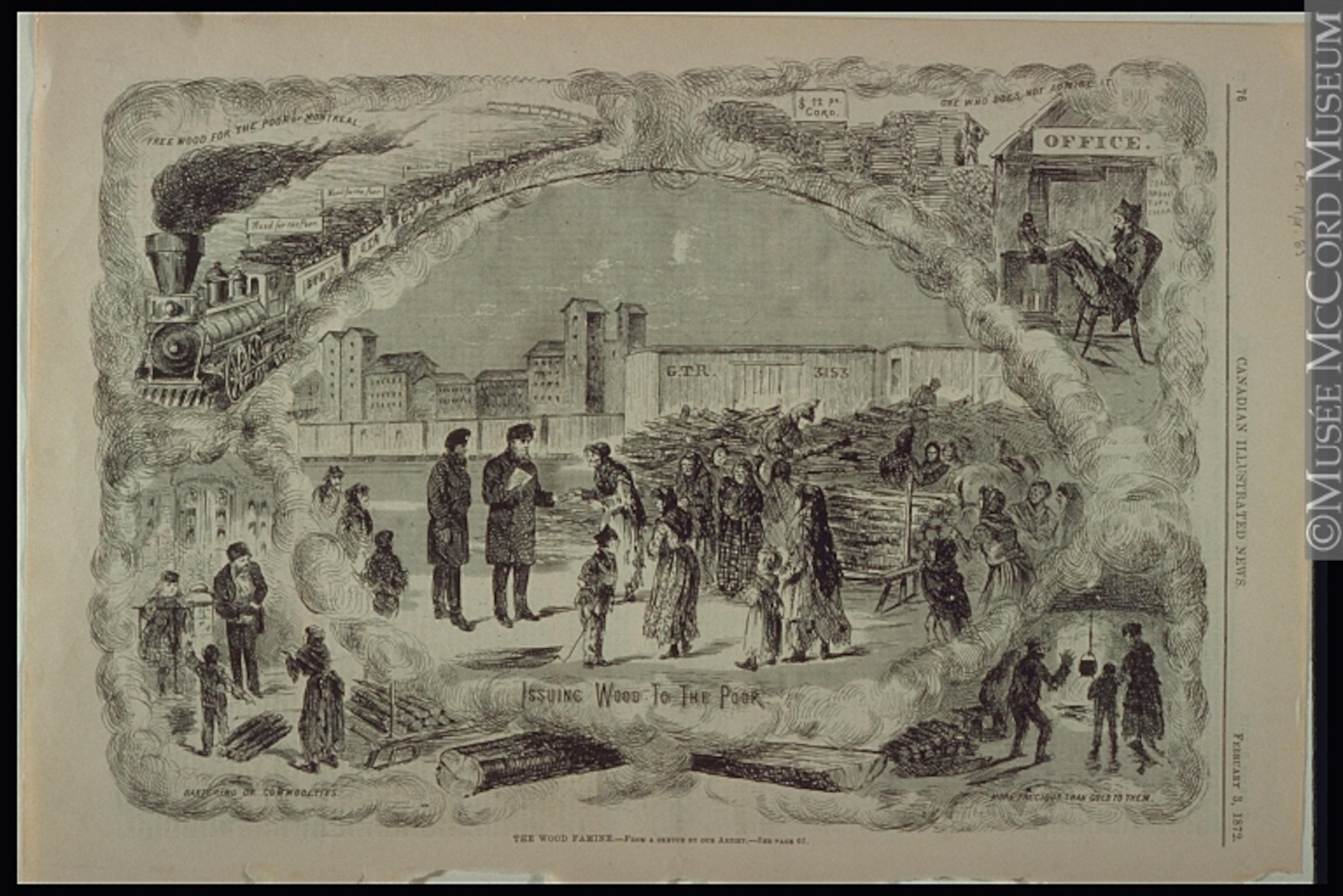 Une vieille illustration de journal montrant la pénurie de bois à Montréal