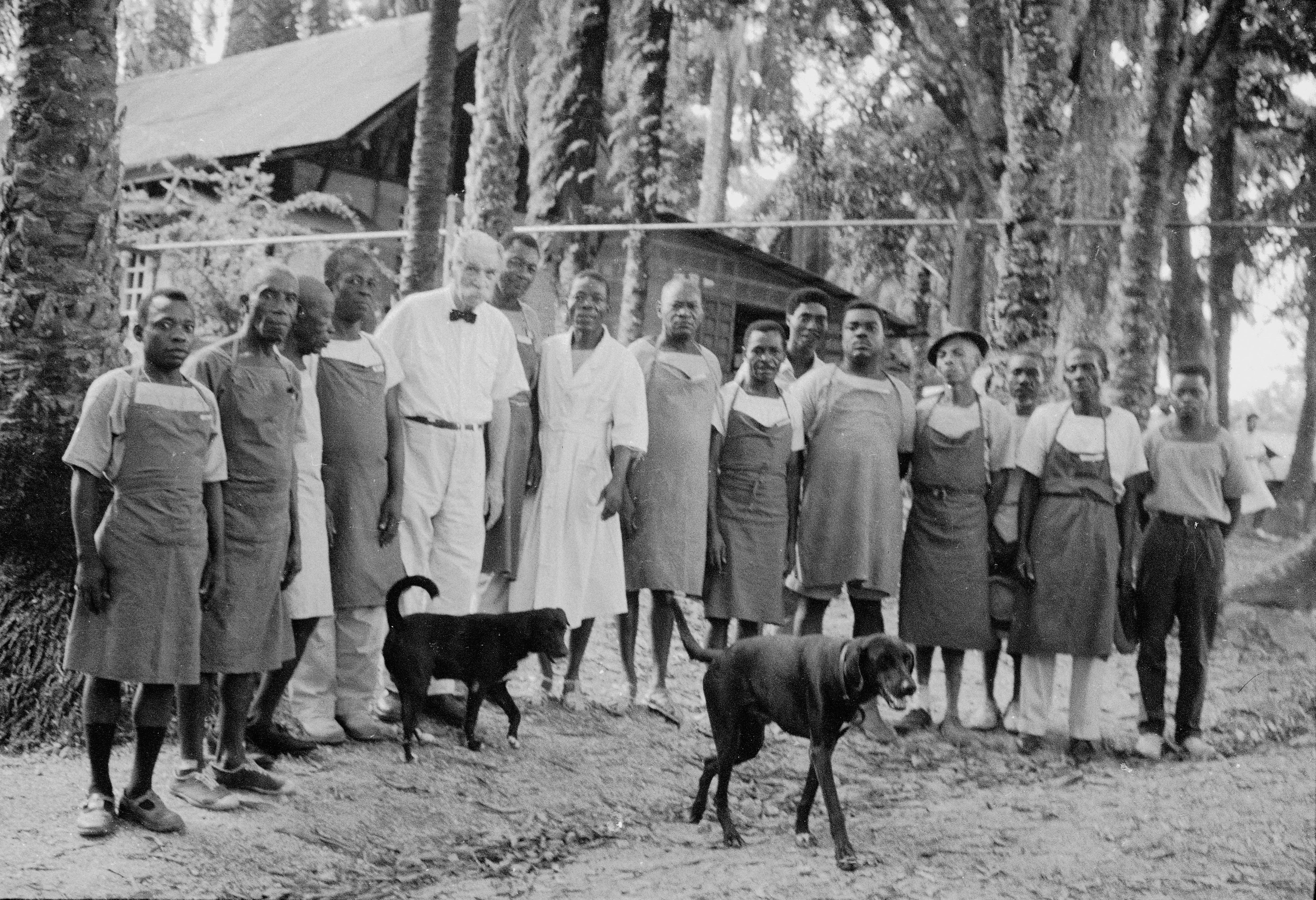 Dans les années 1960, Albert Schweitzer se fait prendre en photo en compagnie d'une partie du personnel de son hôpital, à Lambaréné, au Gabon.