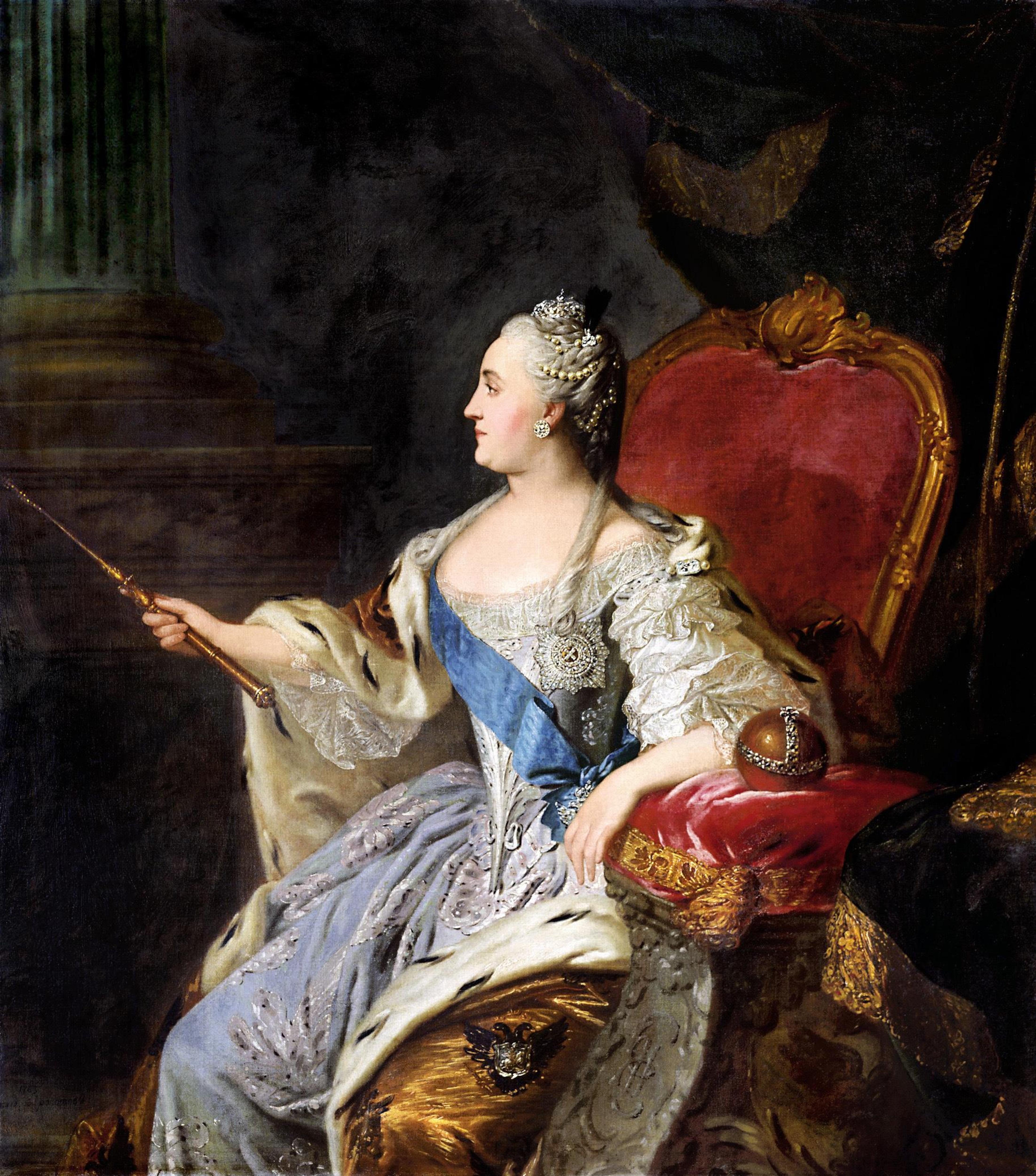 Un portrait représente une femme du 18e siècle tendant un bâton mince en or.