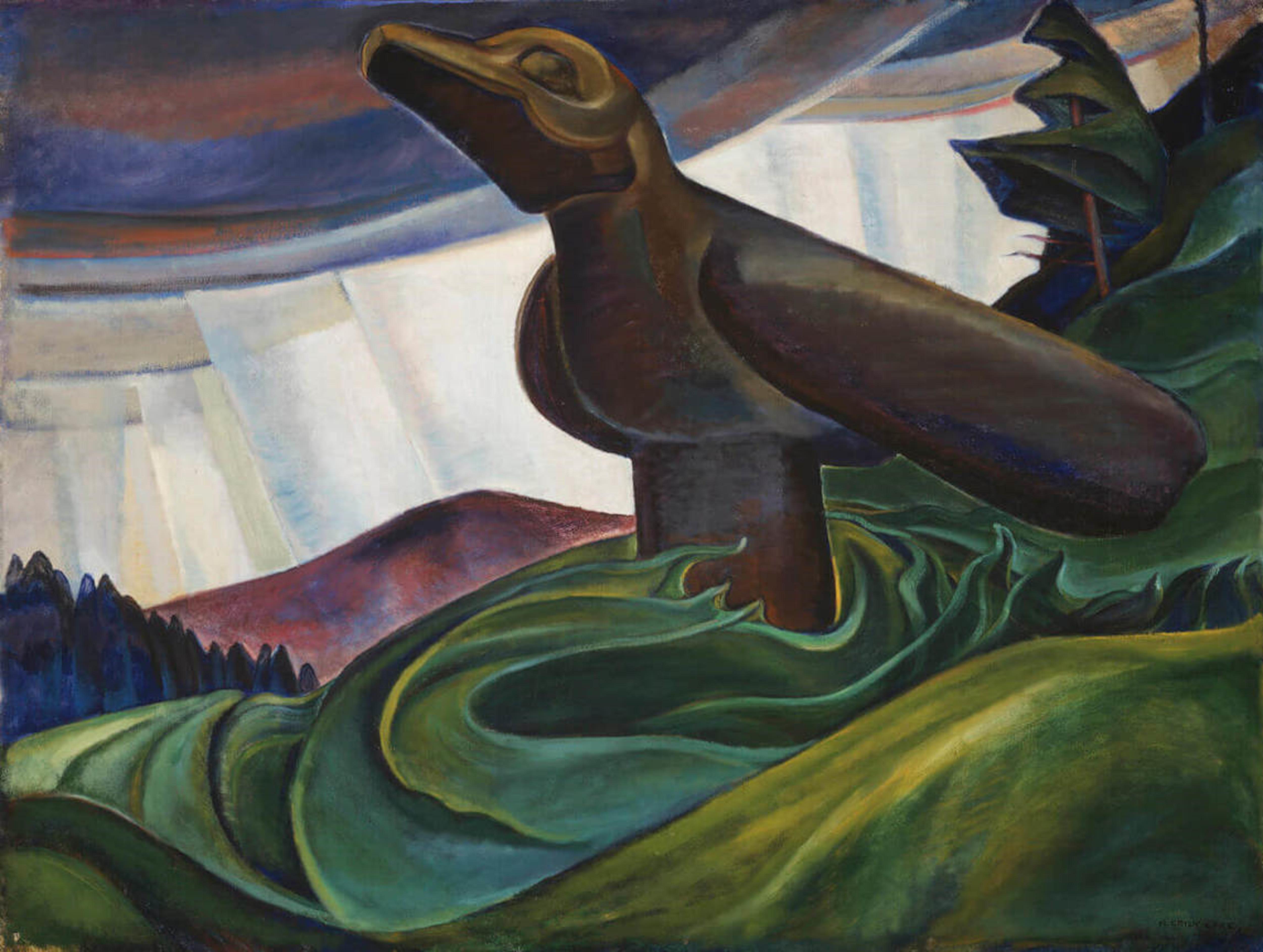 Big Raven, une toile d'Emily Carr montrant un totem de corbeau
