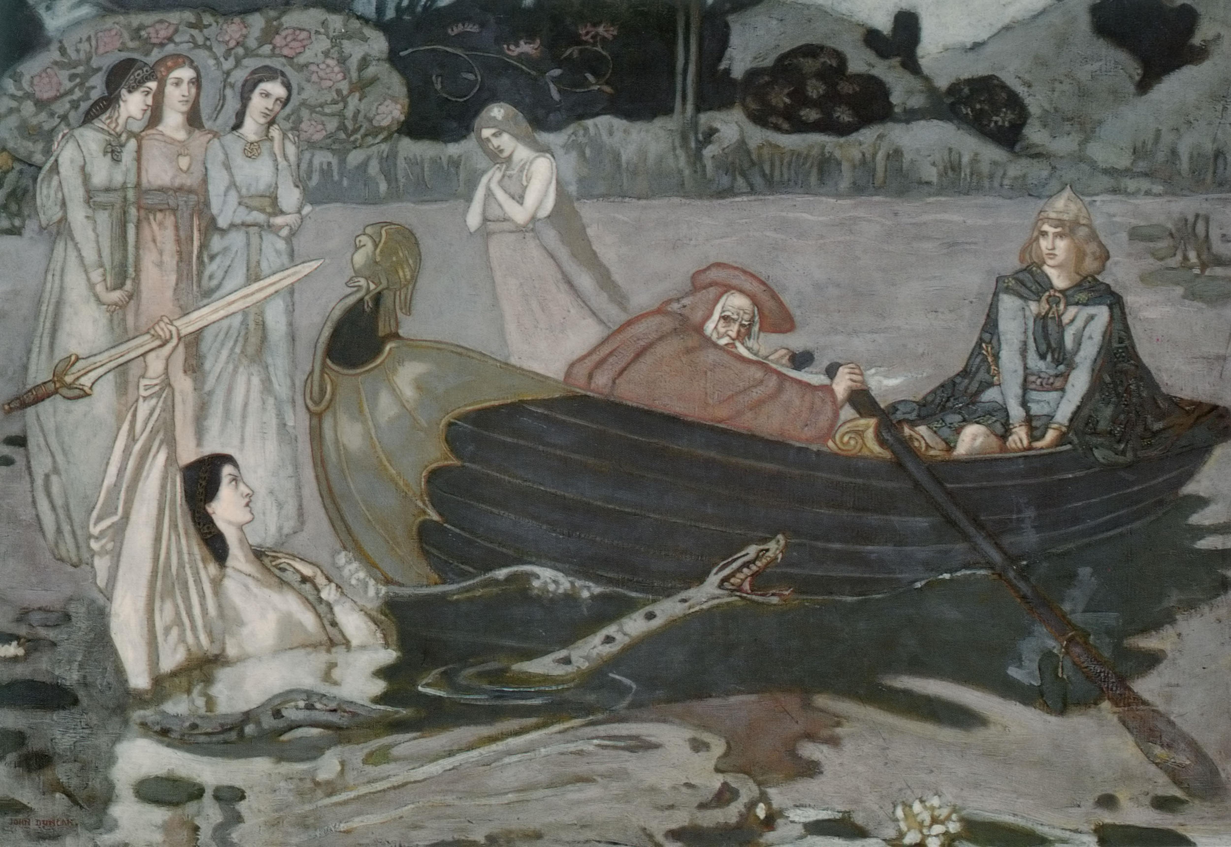 Le roi Arthur est sur le point de recevoir l'épée Excalibur. Merlin l'accompagne dans un bateau.