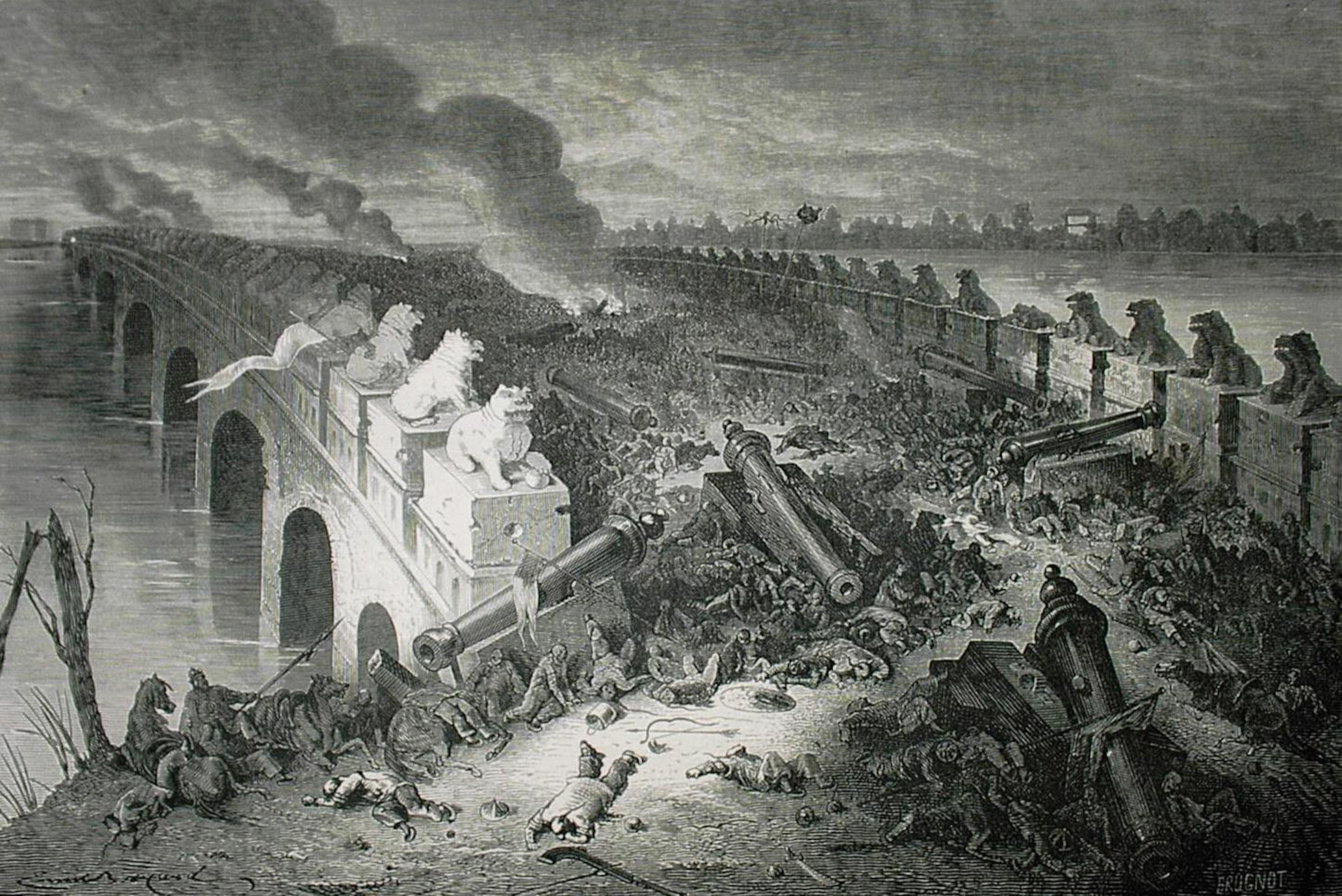 Une représentation d'une bataille sur un pont; des corps d'hommes et de chevaux gisent, et des canons sont sur le pont.