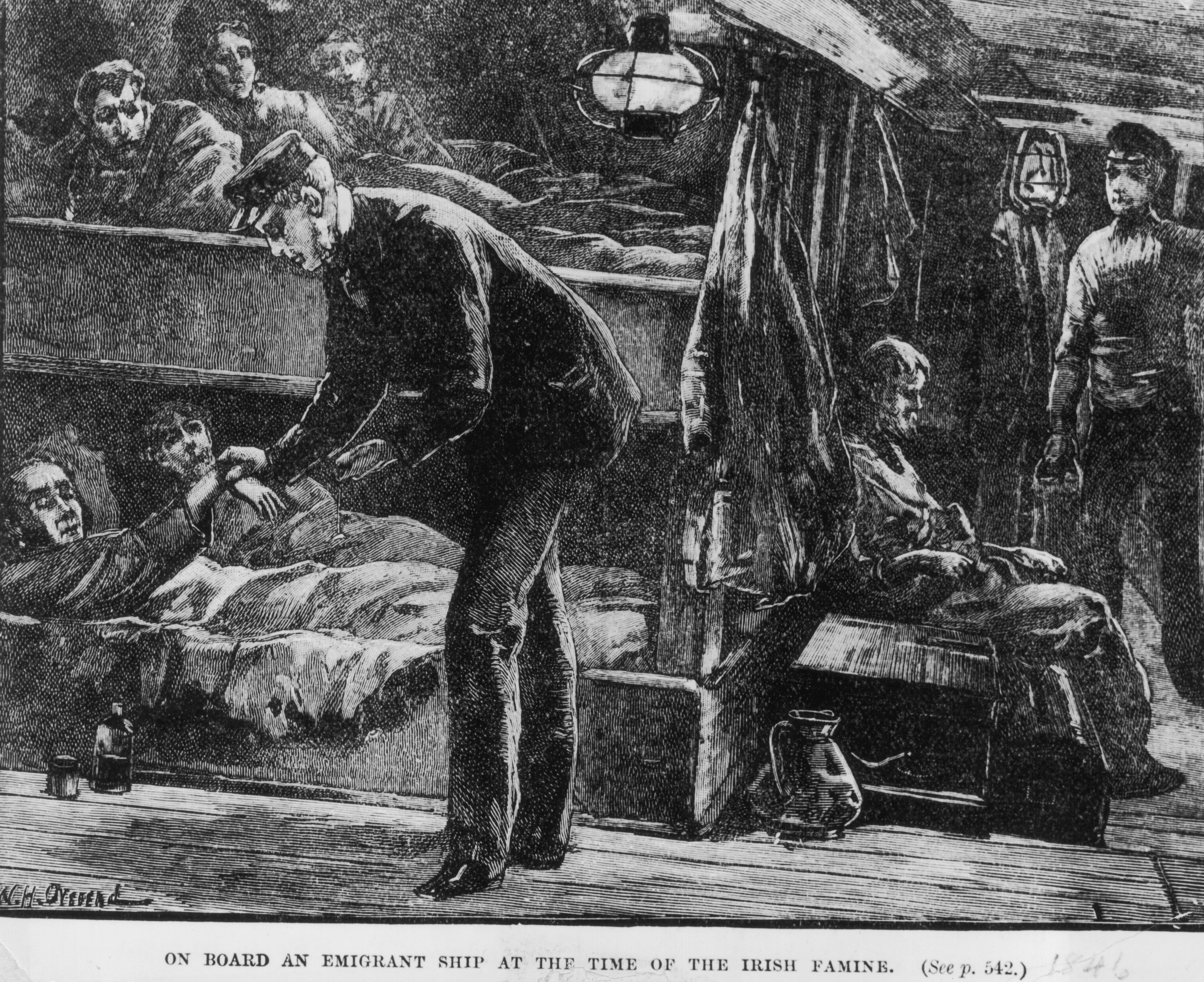 Détail d'une illustration du 19e siècle montrant des émigrants irlandais qui se dirigent vers les États-Unis.