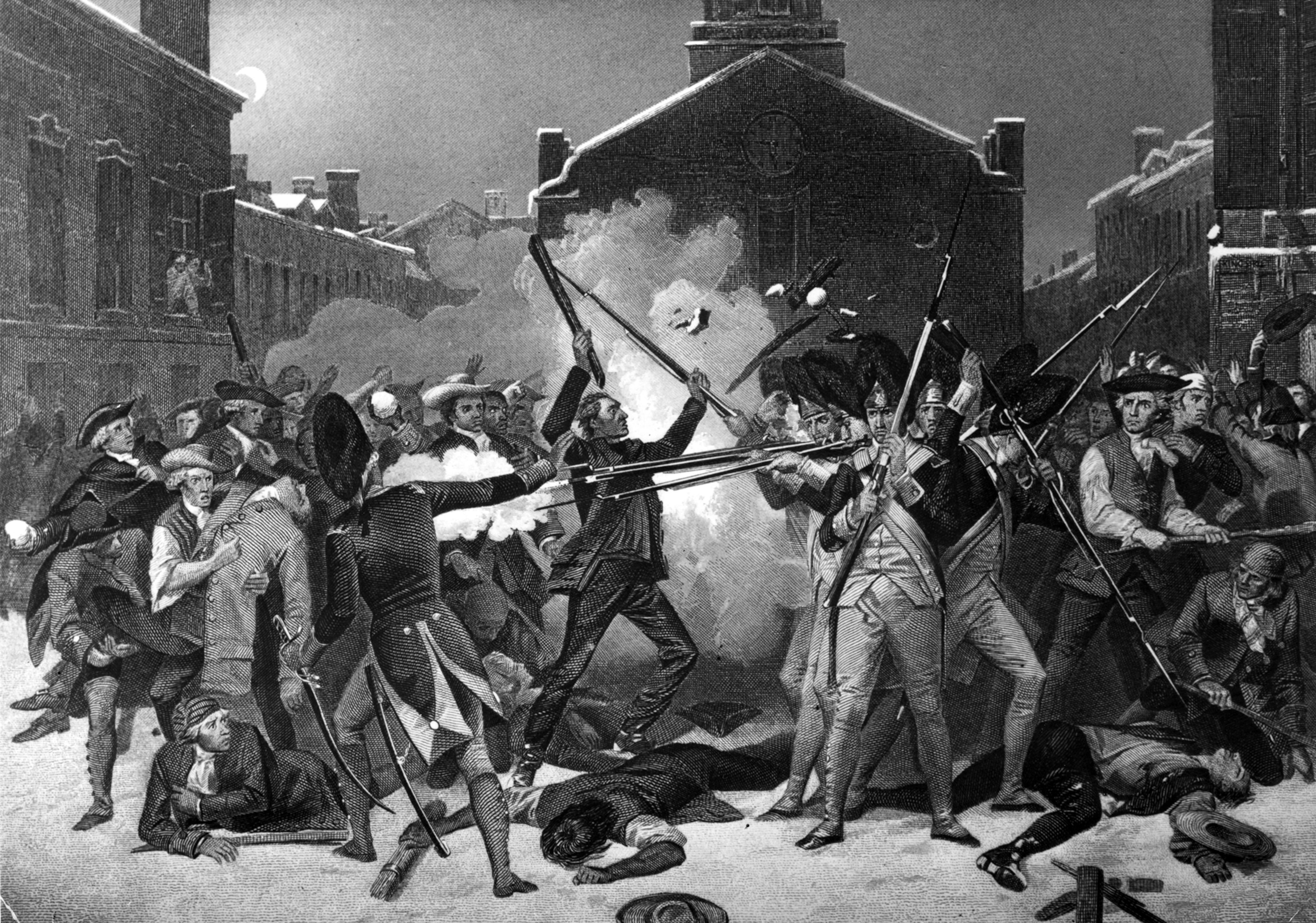 Une représentation du massacre de Boston, le 5 mars 1770. Des soldats ouvrent le feu sur une foule.