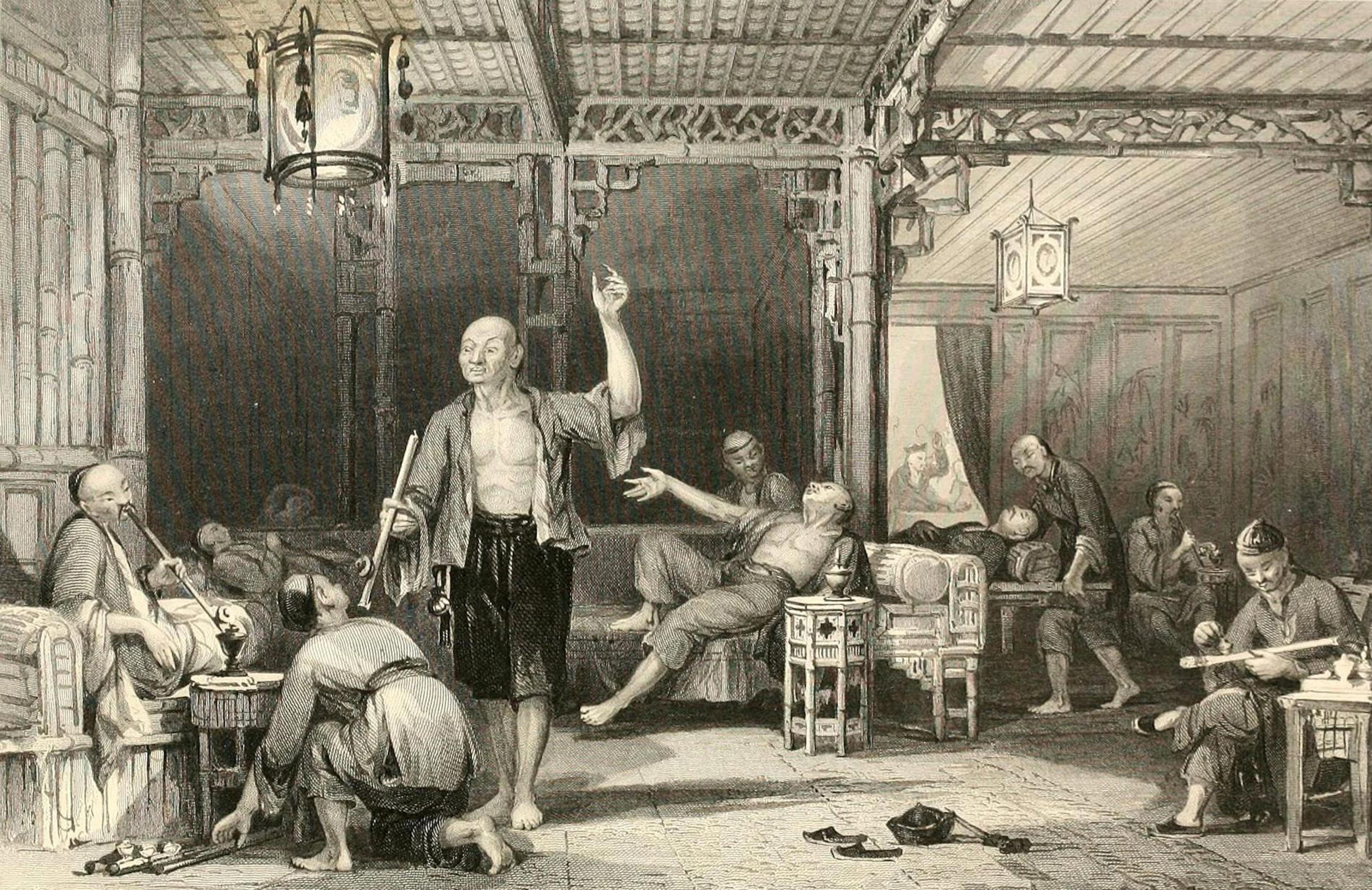 Un dessin représente des hommes asiatiques en train de fumer de l'opium dans une grande salle.