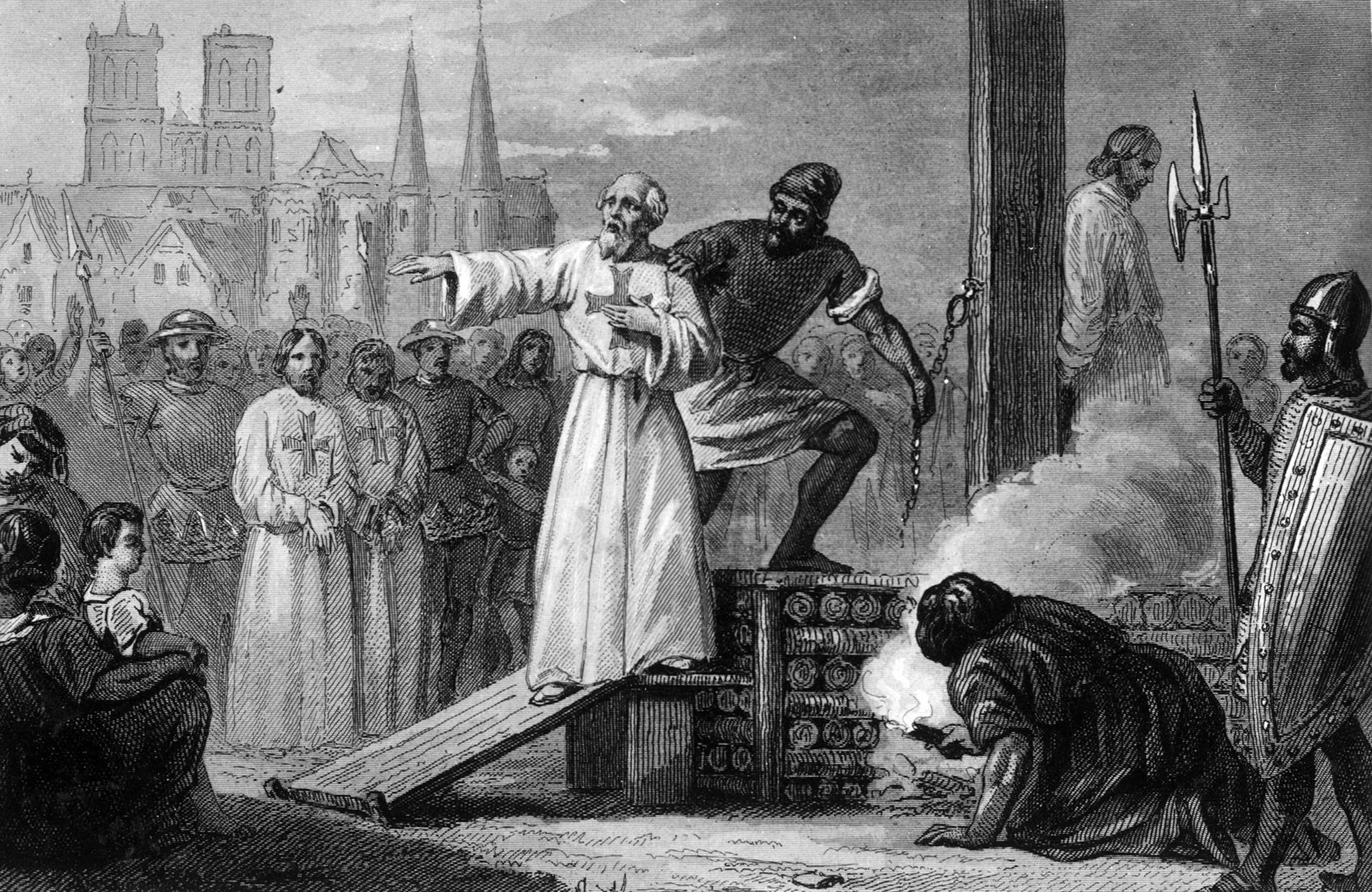 Illustration d'un homme qu'on dirige sur une tribune pour le brûler.