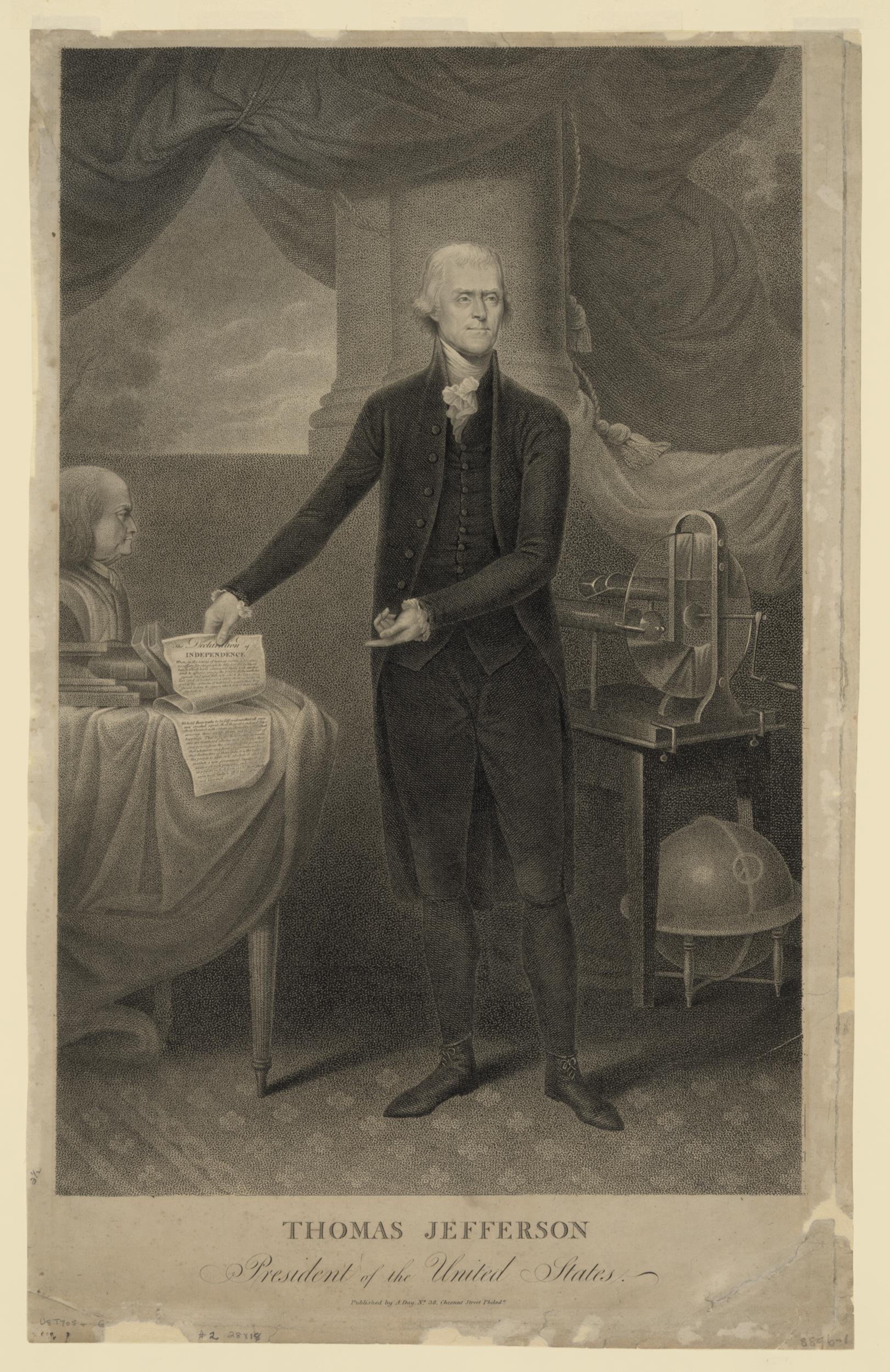 Gravure d'époque où l'on voit le politicien près d'un buste de Benjamin Franklin.