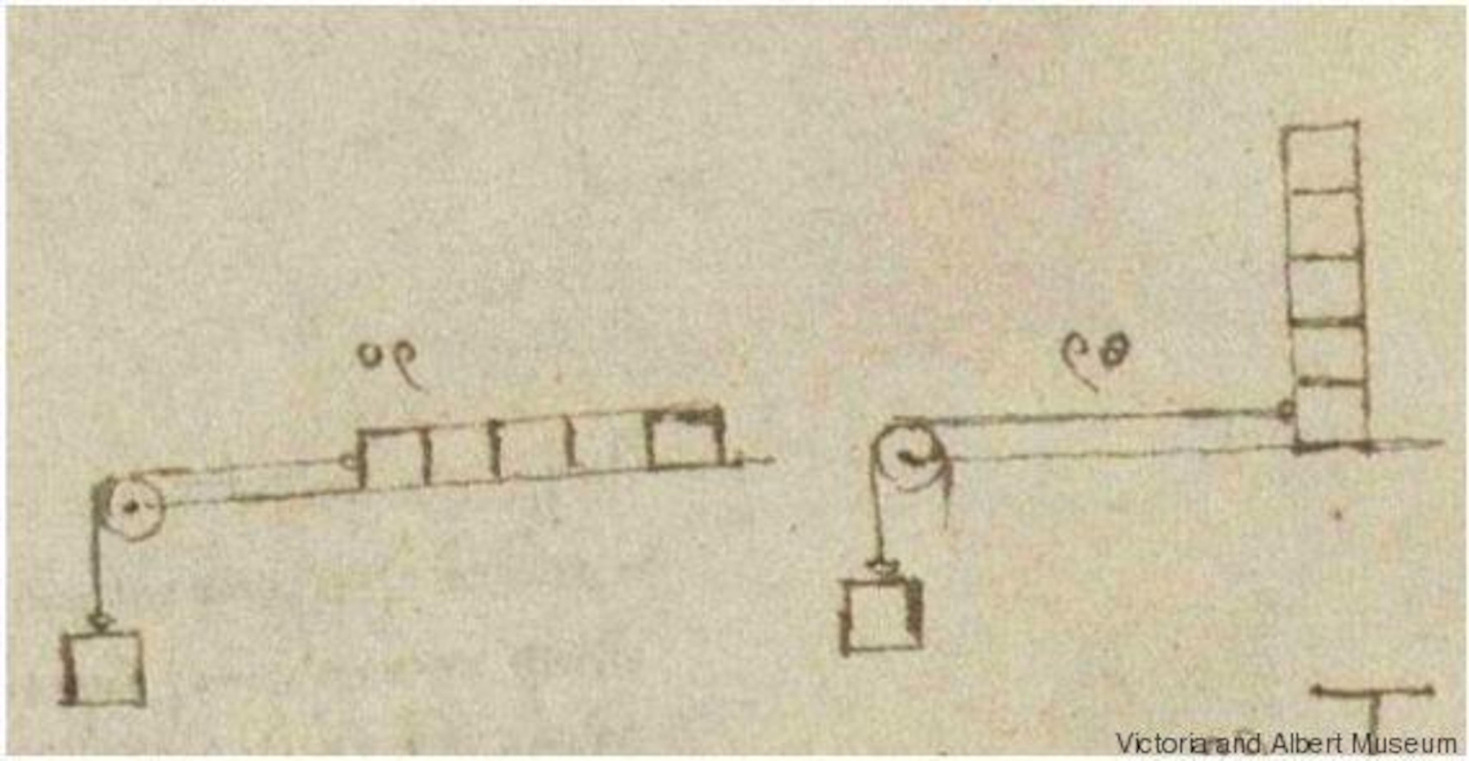 Un dessin montrant des poulies et une masse rectangulaire.