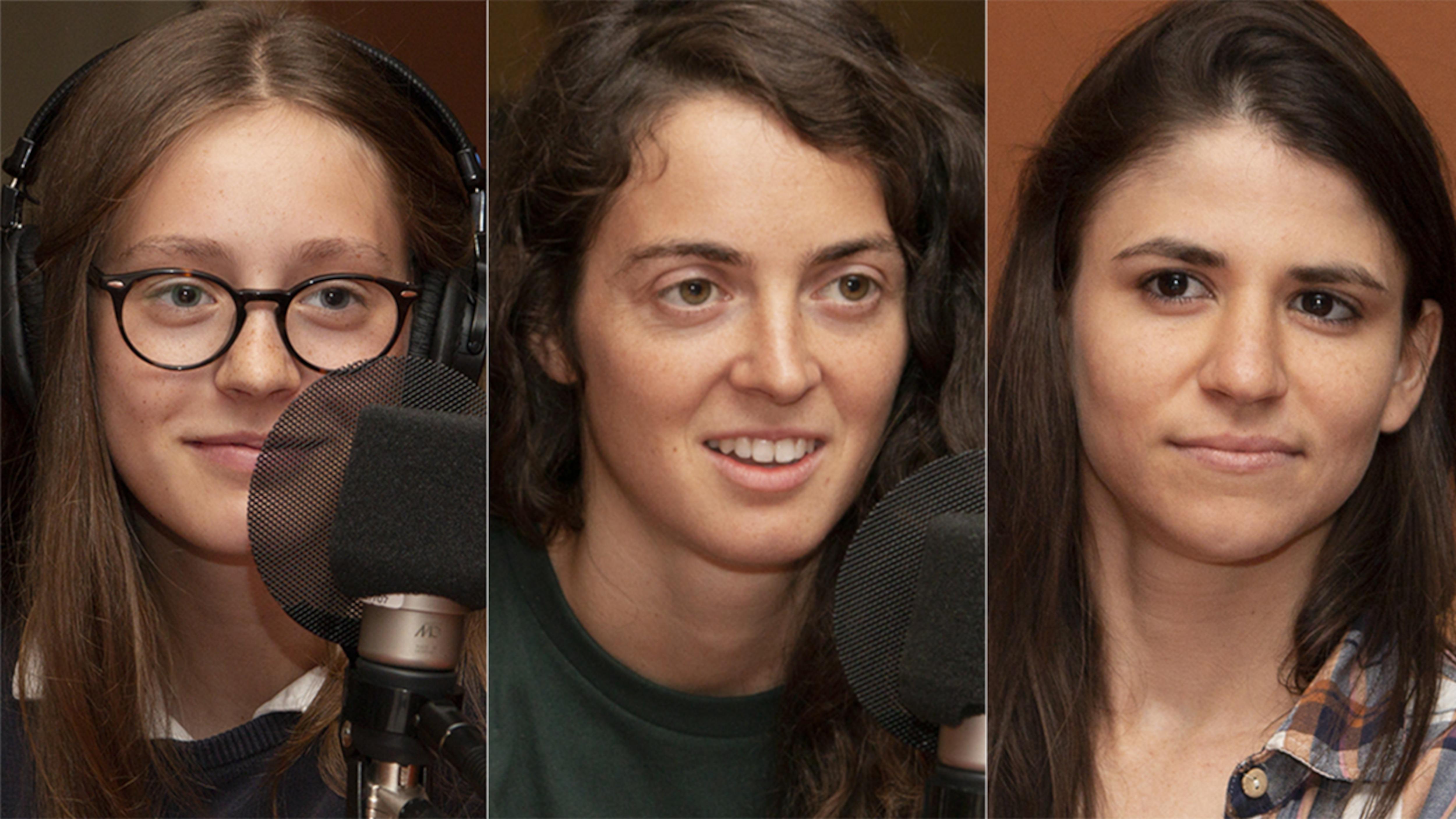 Samantha Secours, Annie Guglia et Camille Lanctôt-Goulet au studio 18 de Radio-Canada, à Montréal, le 27 août 2018.