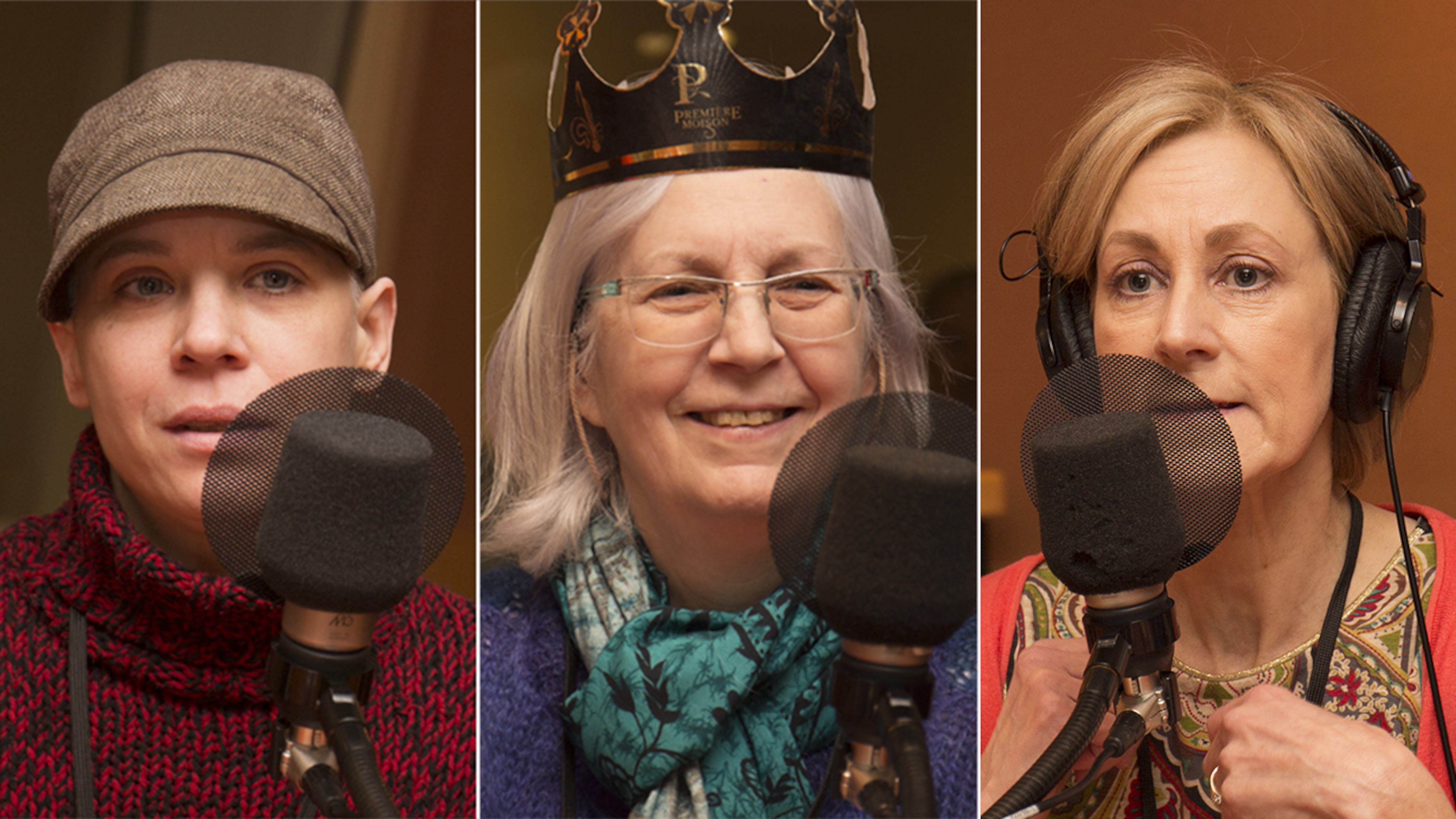 Mitsou Lefebvre-Lafrance, Thérèse Bélisle et Natalia Koszegi répondent aux questions de Catherine Perrin au studio 18 de Radio-Canada, le 19 mars 2018.