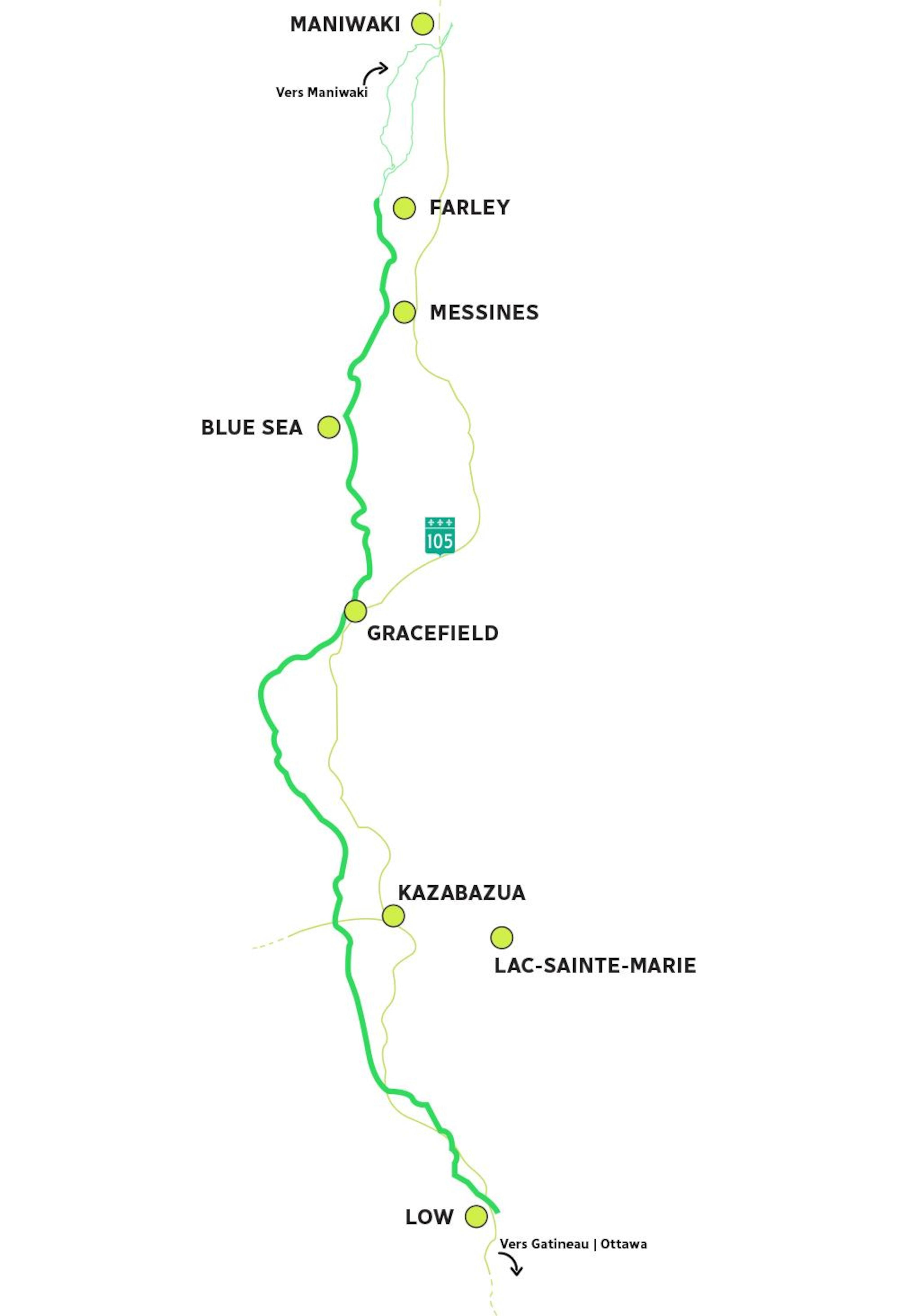 Une carte d'un circuit de cyclisme dans la Haute-Gatineau.