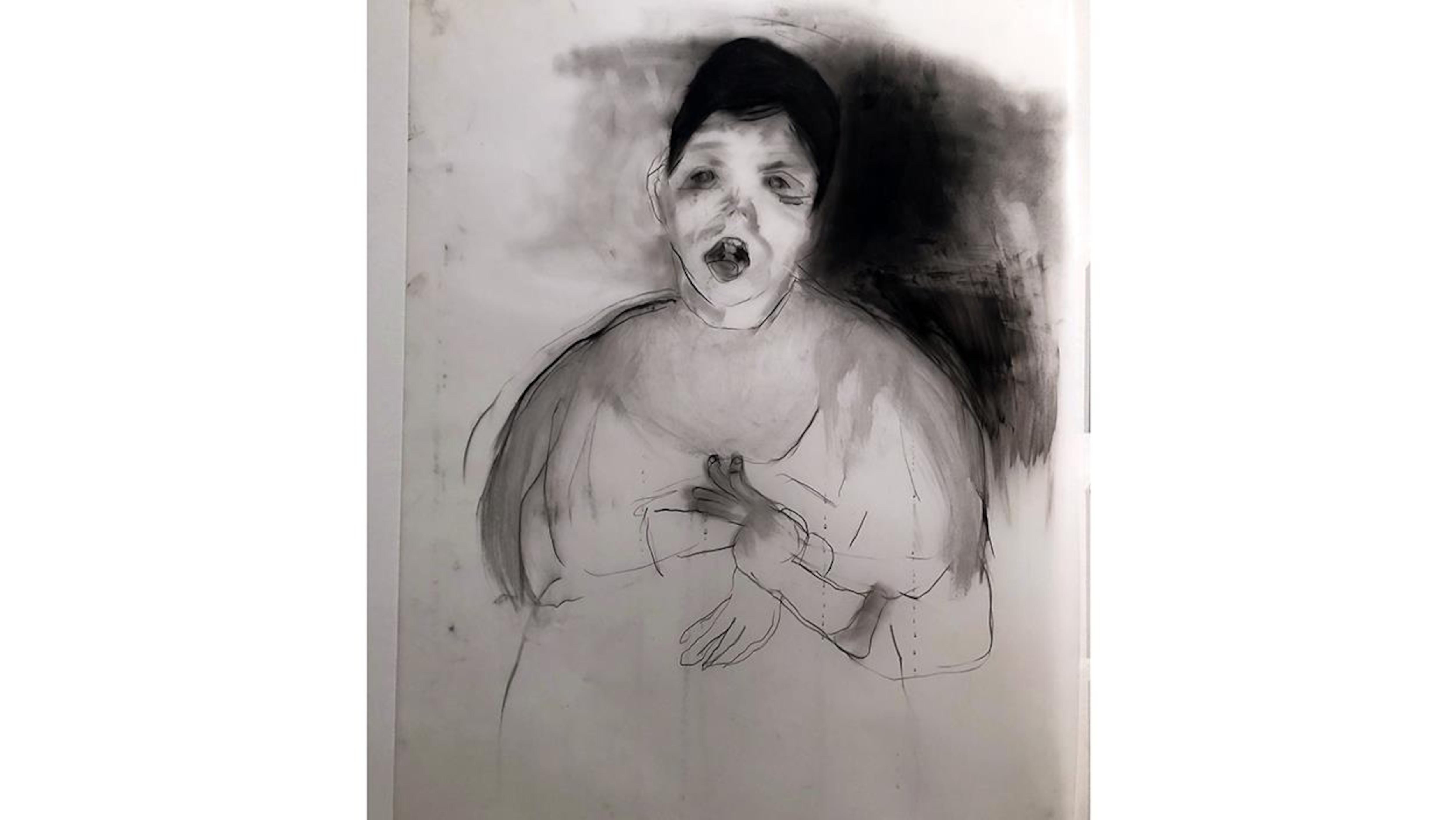 Un dessin en noir et blanc d'un garçon, la bouche ouverte et les mains devant lui.