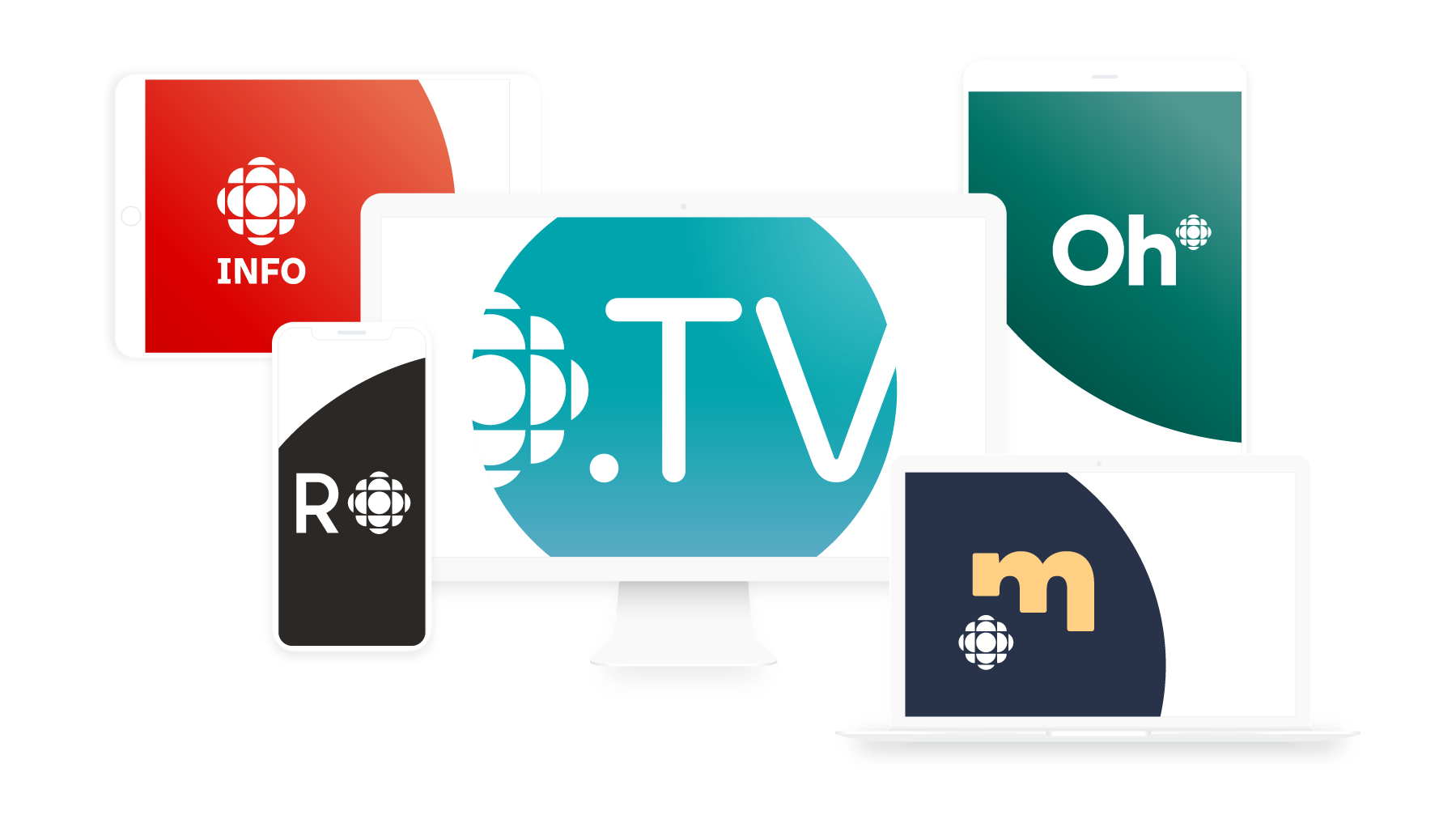 Les logos des différentes plateforme de Radio-Canada