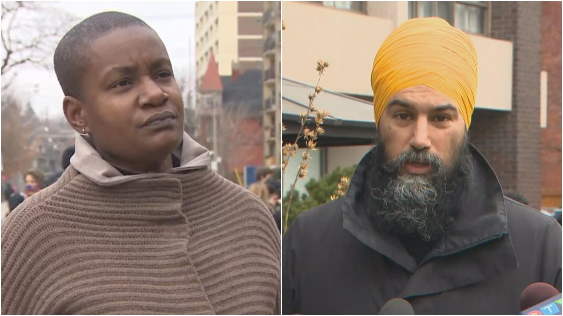Annamie Paul y Jagmeet Singh, líderes políticos canadienses.