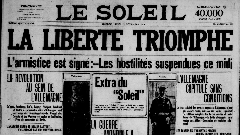 La une du Soleil de 1918 annonce la signature de l'armistice
