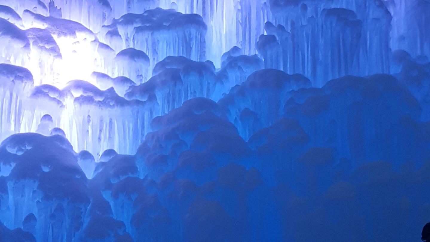 Des tiges de glaces illuminées.