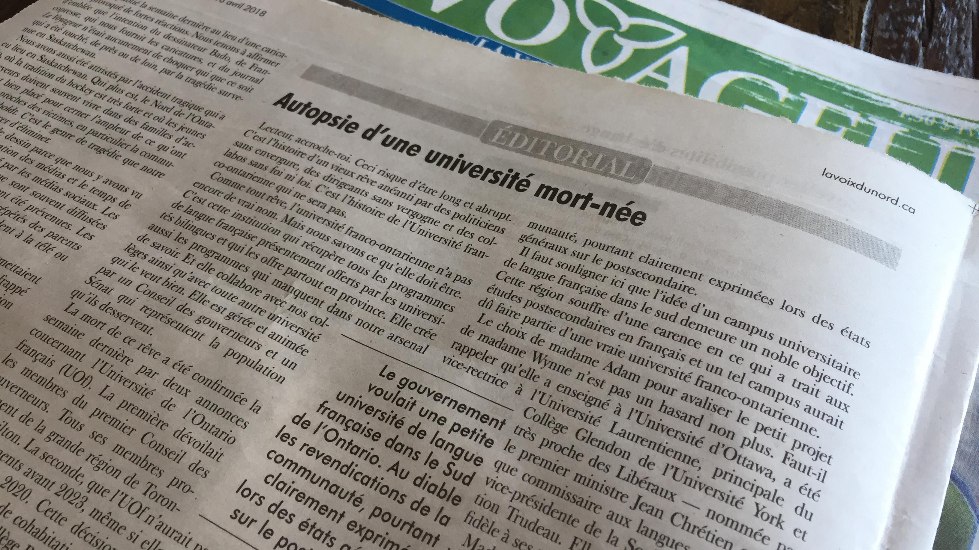 L Universite Franco Ontarienne La Mort D Un Reve Le Matin Du Nord