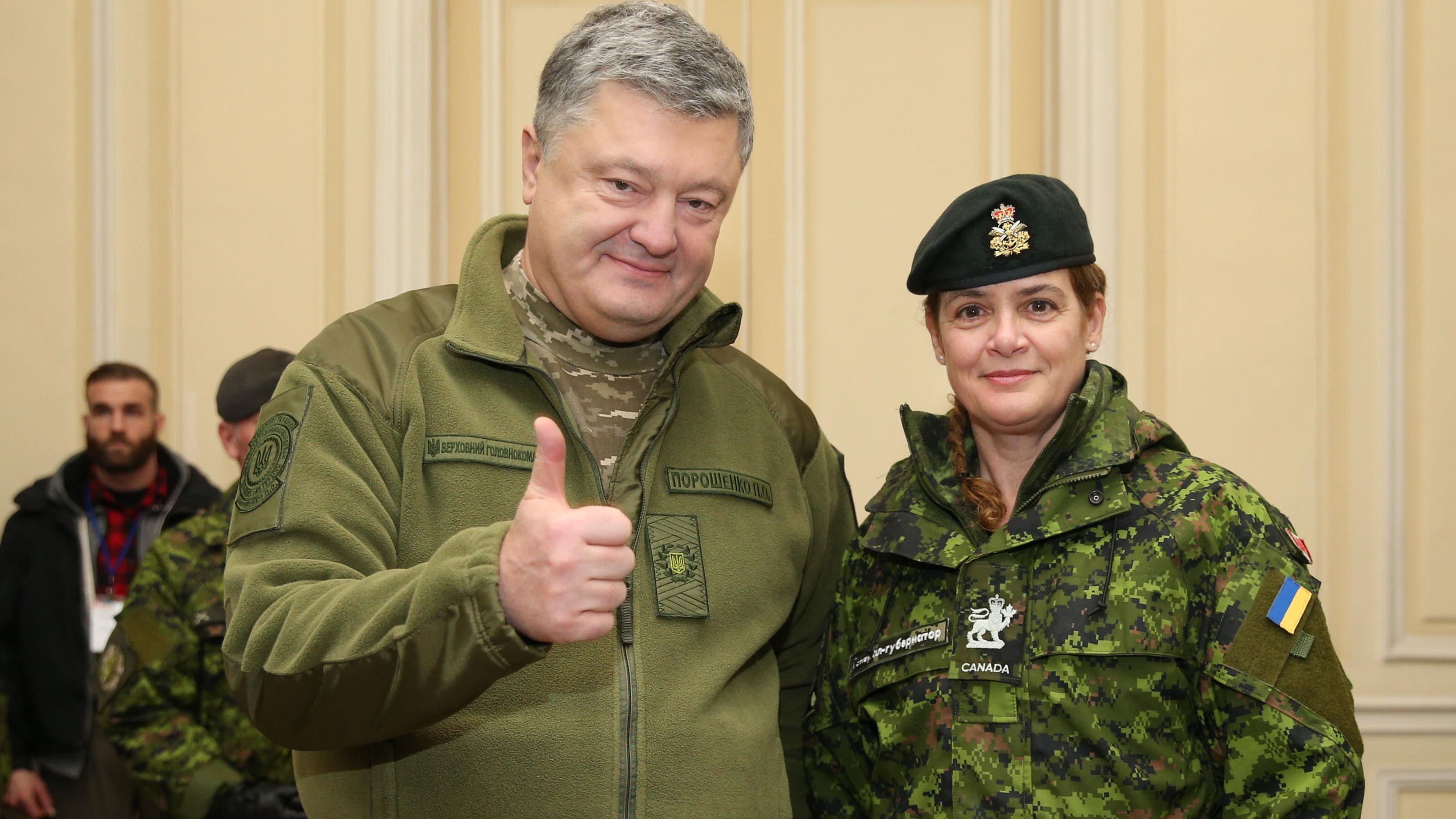 Canadian Gov. Gen. Julie Payette and Ukrainian President Petro Poroshenko pose for on Thursday, Jan. 18, 2018.