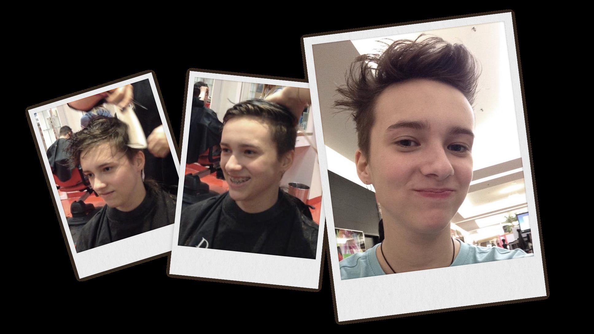 Montage de trois photos prises lors de la coupe de cheveux de Loukas