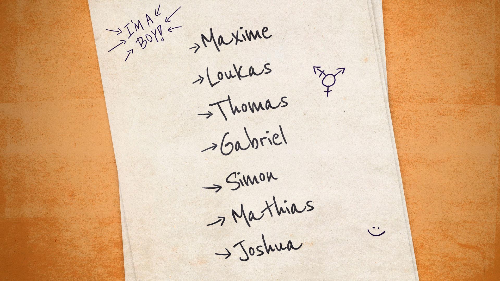 Illustration de la liste de noms soumise par Loukas à ses parents : Maxime, Loukas, Thomas, Gabriel, Simon, Mathias et Joshua.