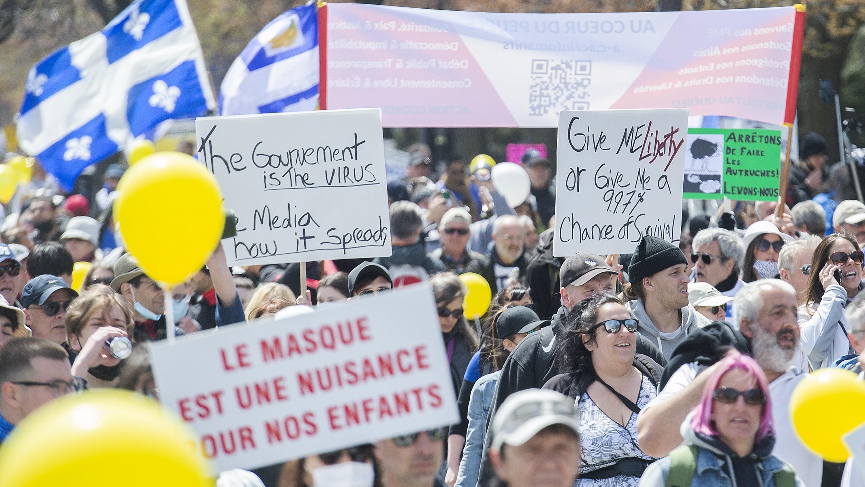 Una manifestación contra las medidas sanitarias para frenar el Covid-19.