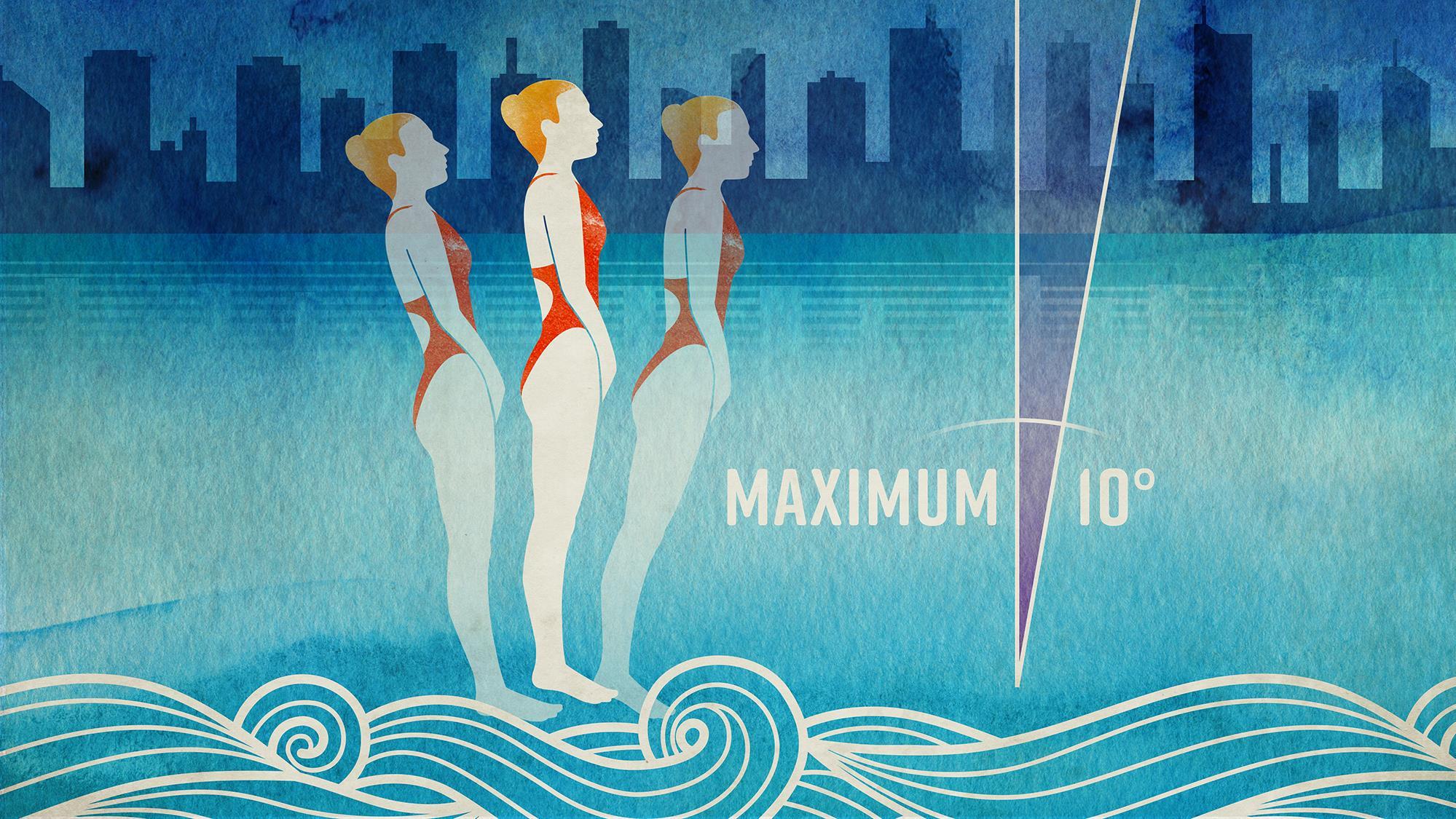 Une entrée dans l'eau avec un angle de plus de 10 degrés peut entraîner des blessures graves.
