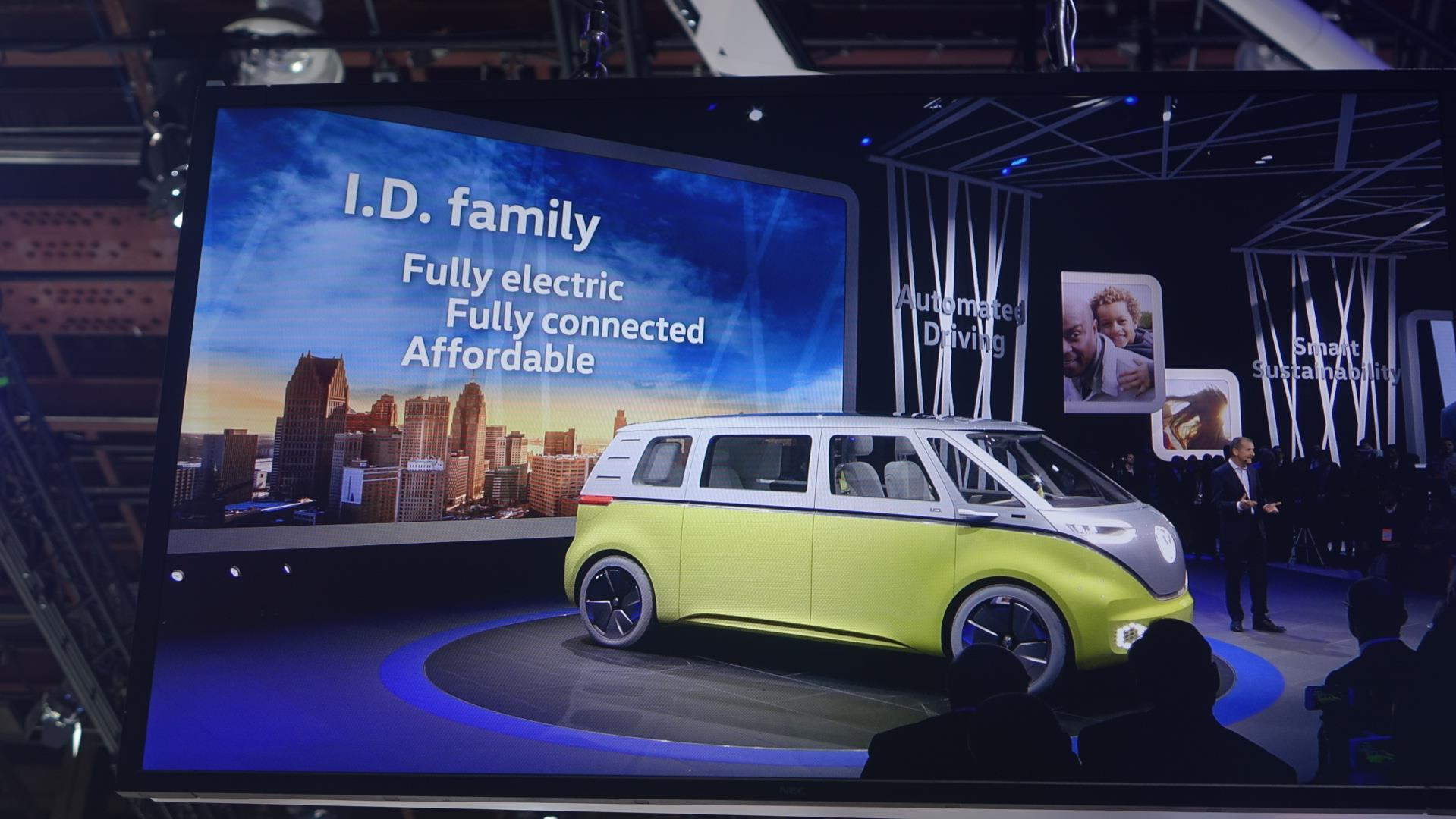 Un véhicule jaune est sur une scène devant un écran qui affiche en anglais : la famille I.D., entièrement électrique, totalement connecté, et abordable.