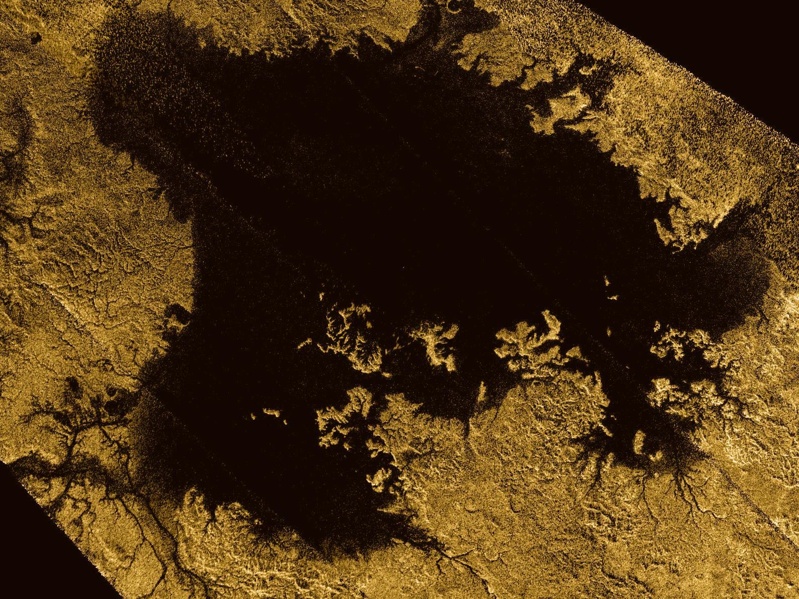 Image radar prise par Cassini montrant Ligeia Mare