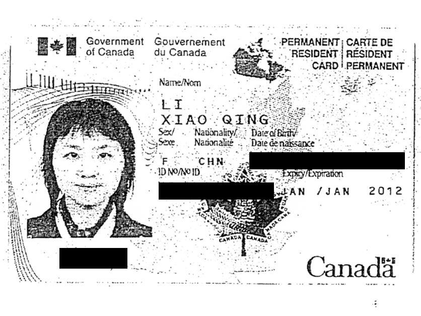 Carte de résident permanent de Xiao Qing Li