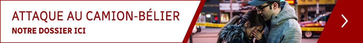 Un bandeau annonçant le dossier de Radio-Canada sur l'attaque au camion-bélier