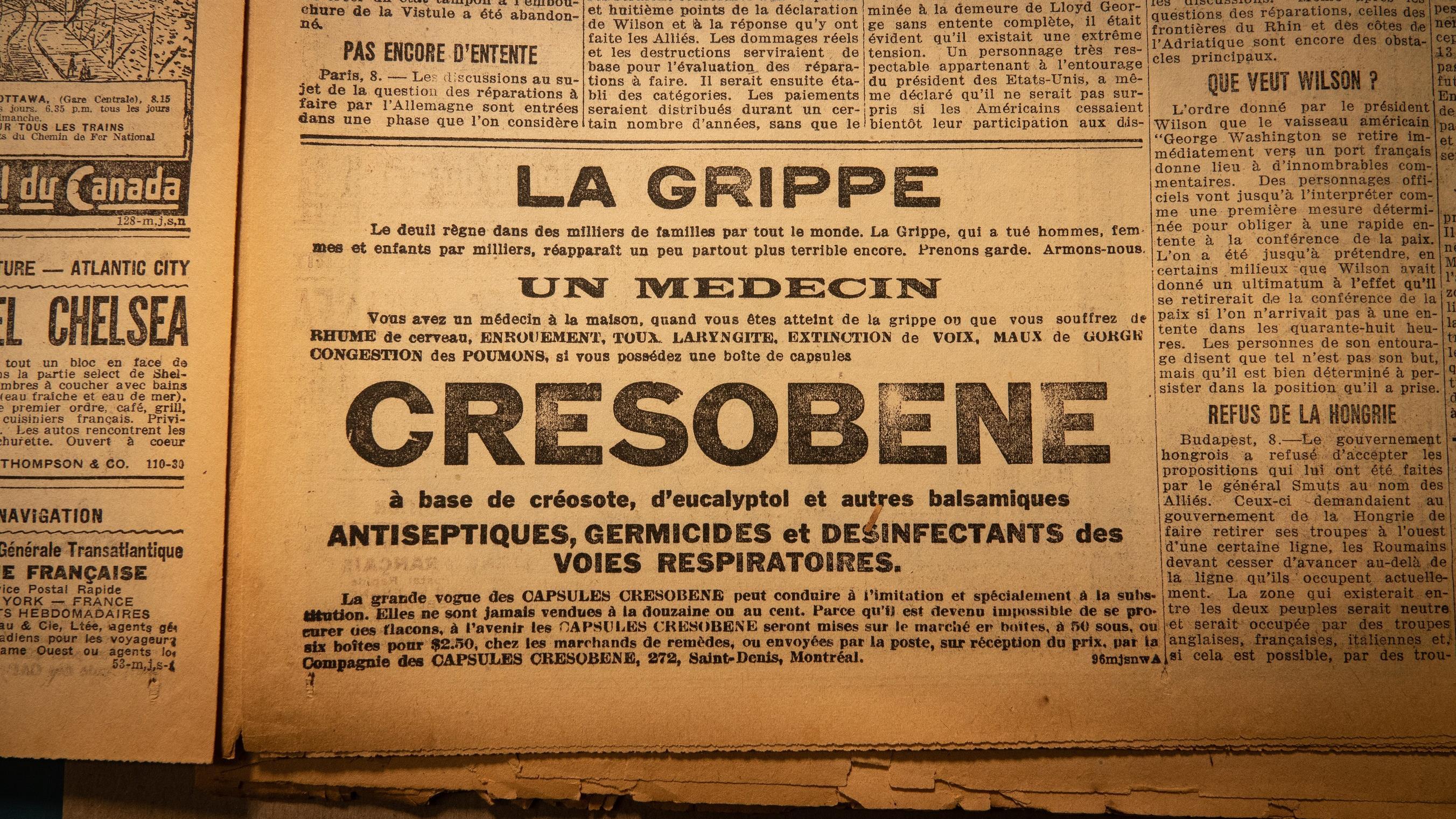 Une publicité pour l'un des remèdes miracles contre la grippe espagnole qui s'affichait dans les journaux de l'époque Photo : Radio-Canada/Martin Thibault