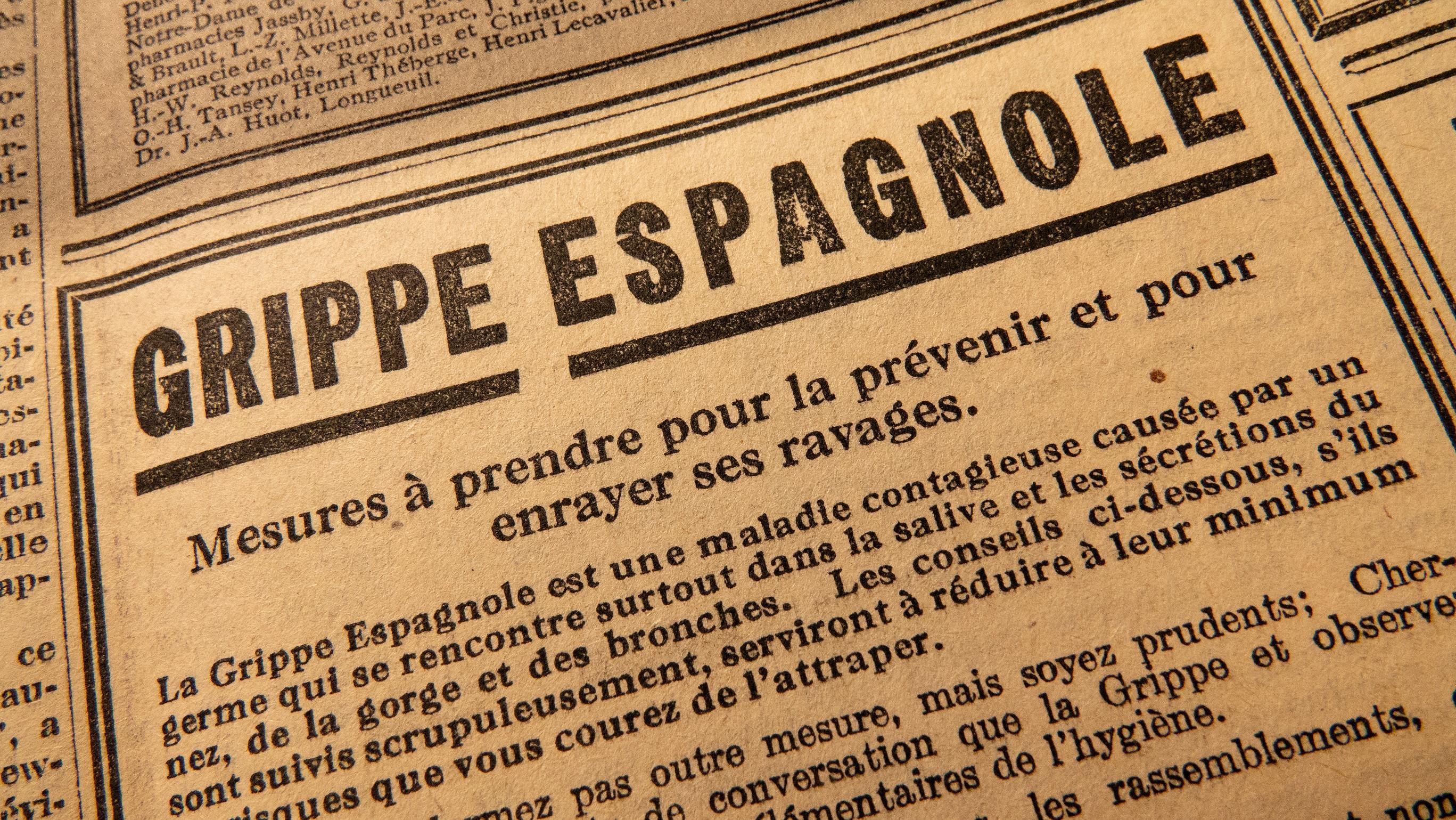 Un avertissement contre la grippe espagnole dans un journal montréalais de 1919 Photo : Radio-Canada/Martin Thibault