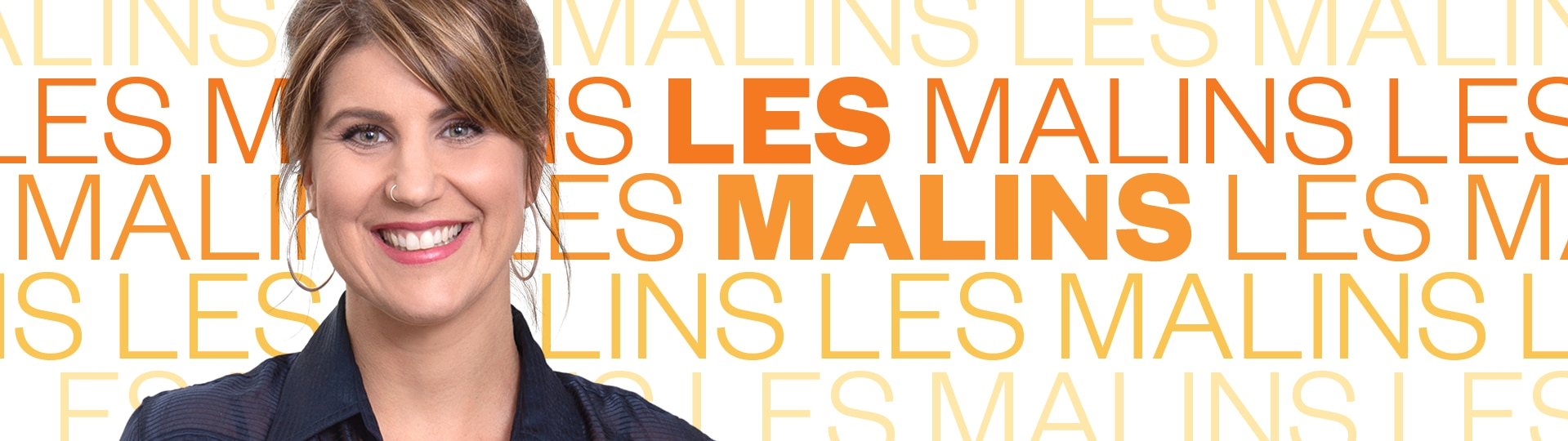 Montage photo avec Jhade Montpetit, l'animatrice de l'émission Les malins d'ICI Première et le nom de l'émission.